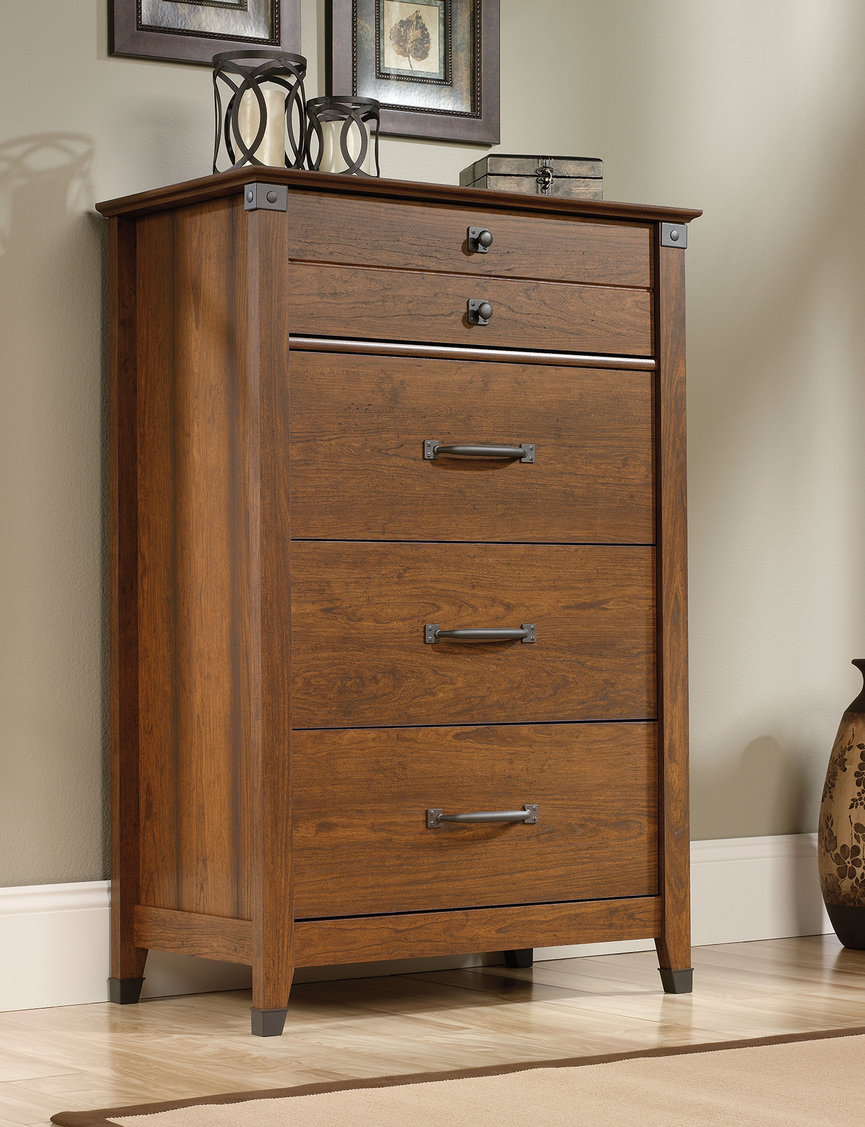sauder bedroom furniture sauder carson forge washington cherry chest of drawers 13118