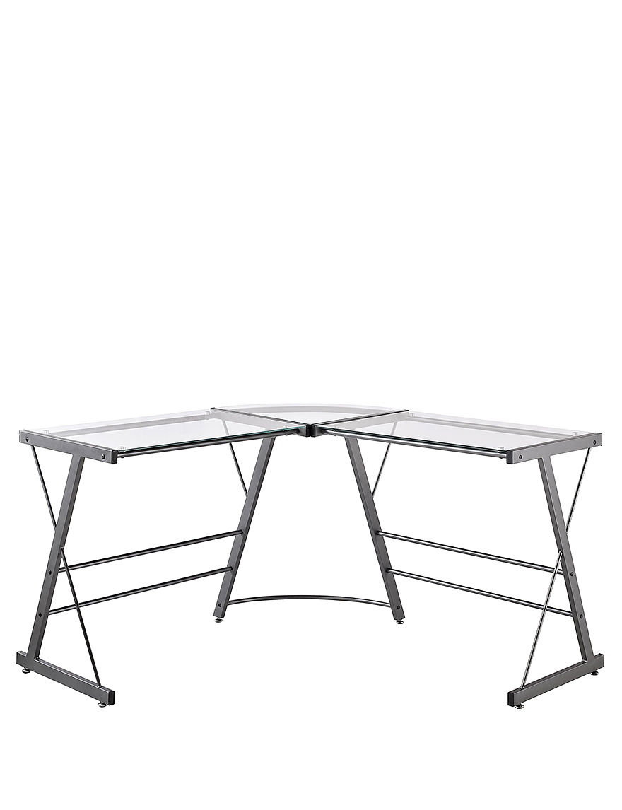 Altra Glass L-Shaped Computer Desk - Grey - Altra