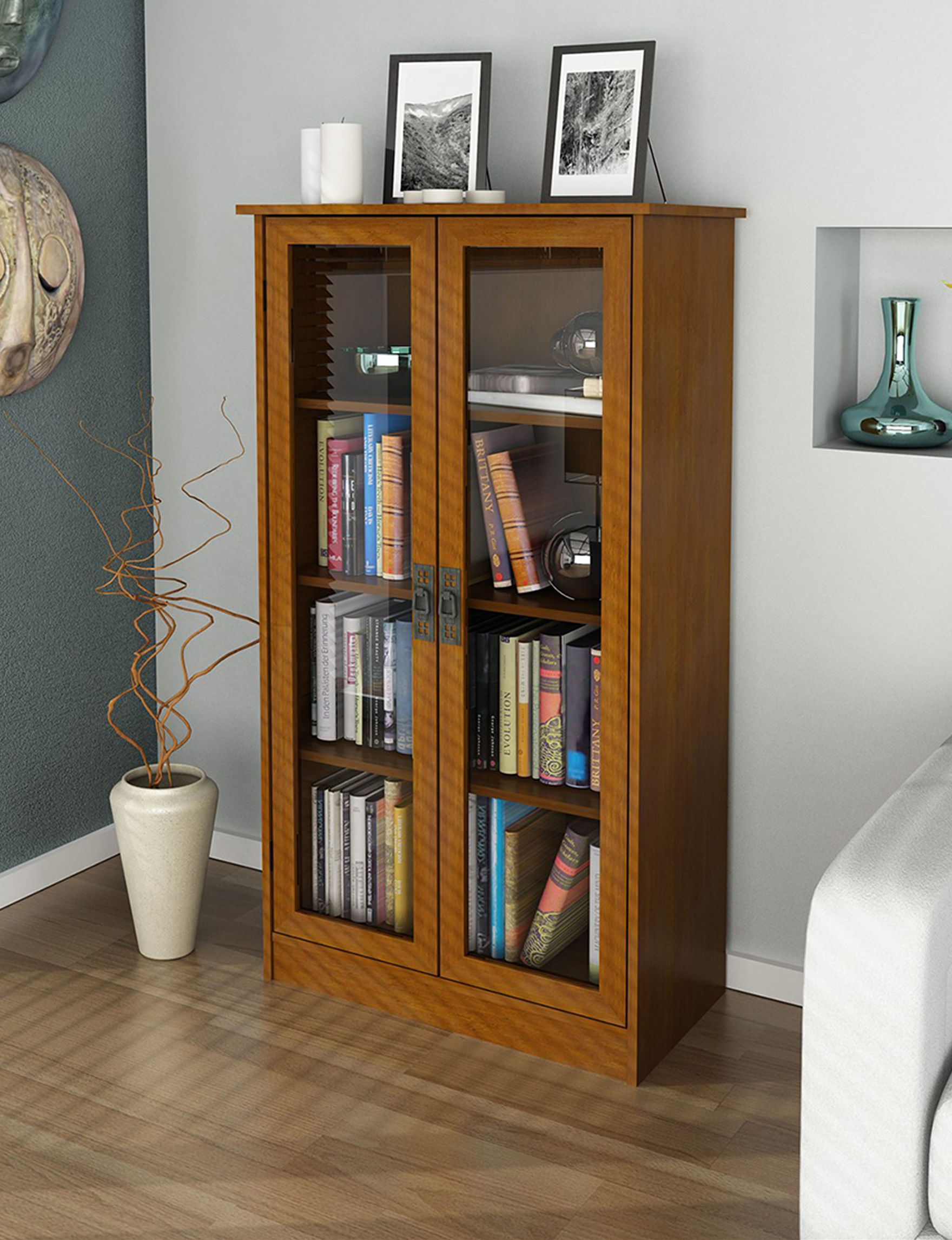 ameriwood furniture bookcase with glass doors stage stores
