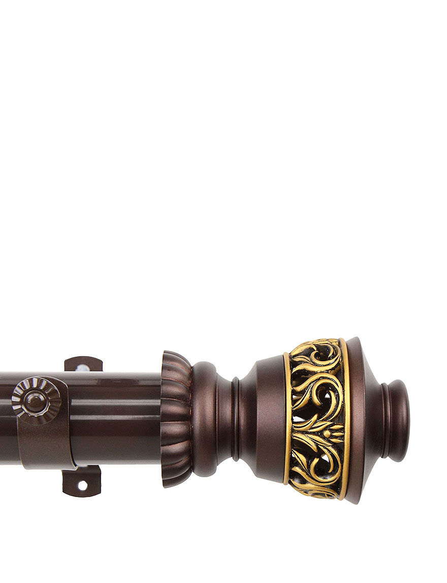 Rod Desyne Brown Curtain Rods & Hardware Window Treatments