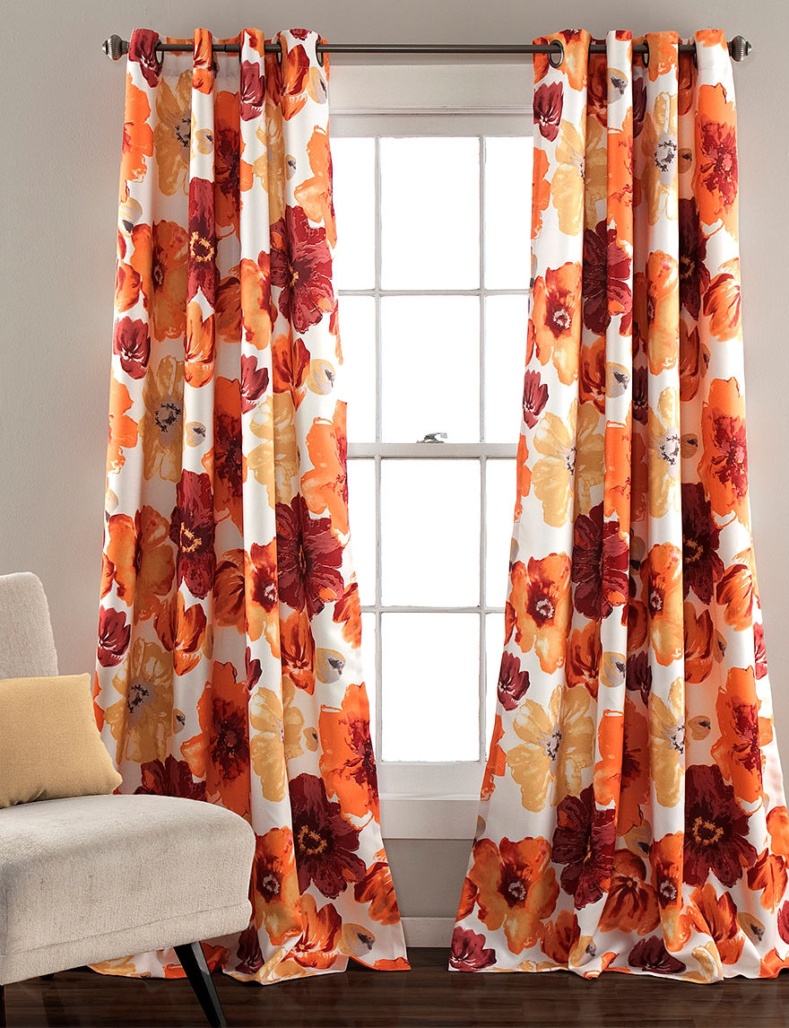 ever dark leah oversized floral grommet window curtains stag
