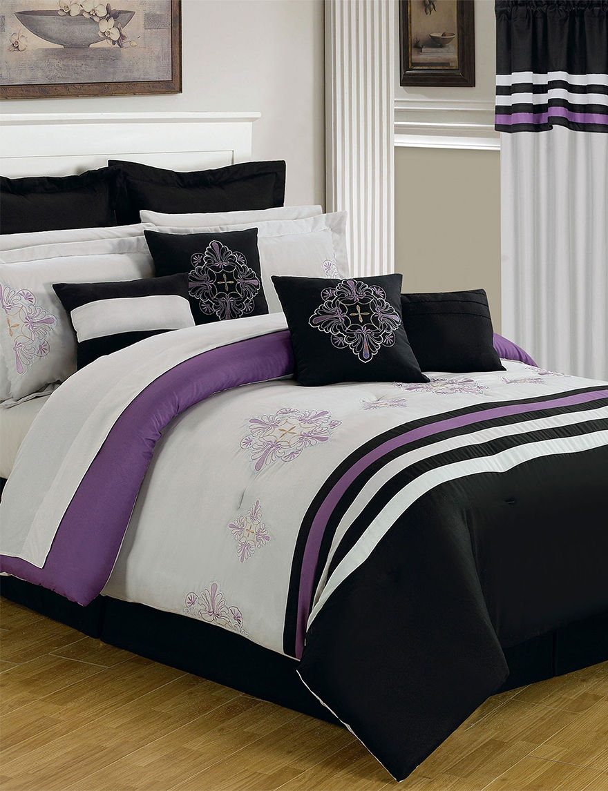 Lavish Home Black/ Purple Comforters & Comforter Sets