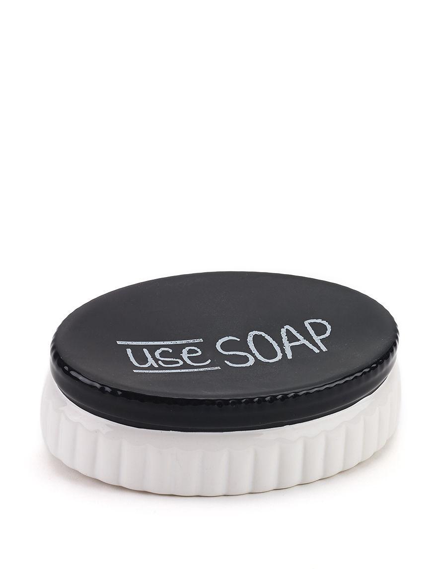 Avanti Black/ White Soap Dishes Bath Accessories