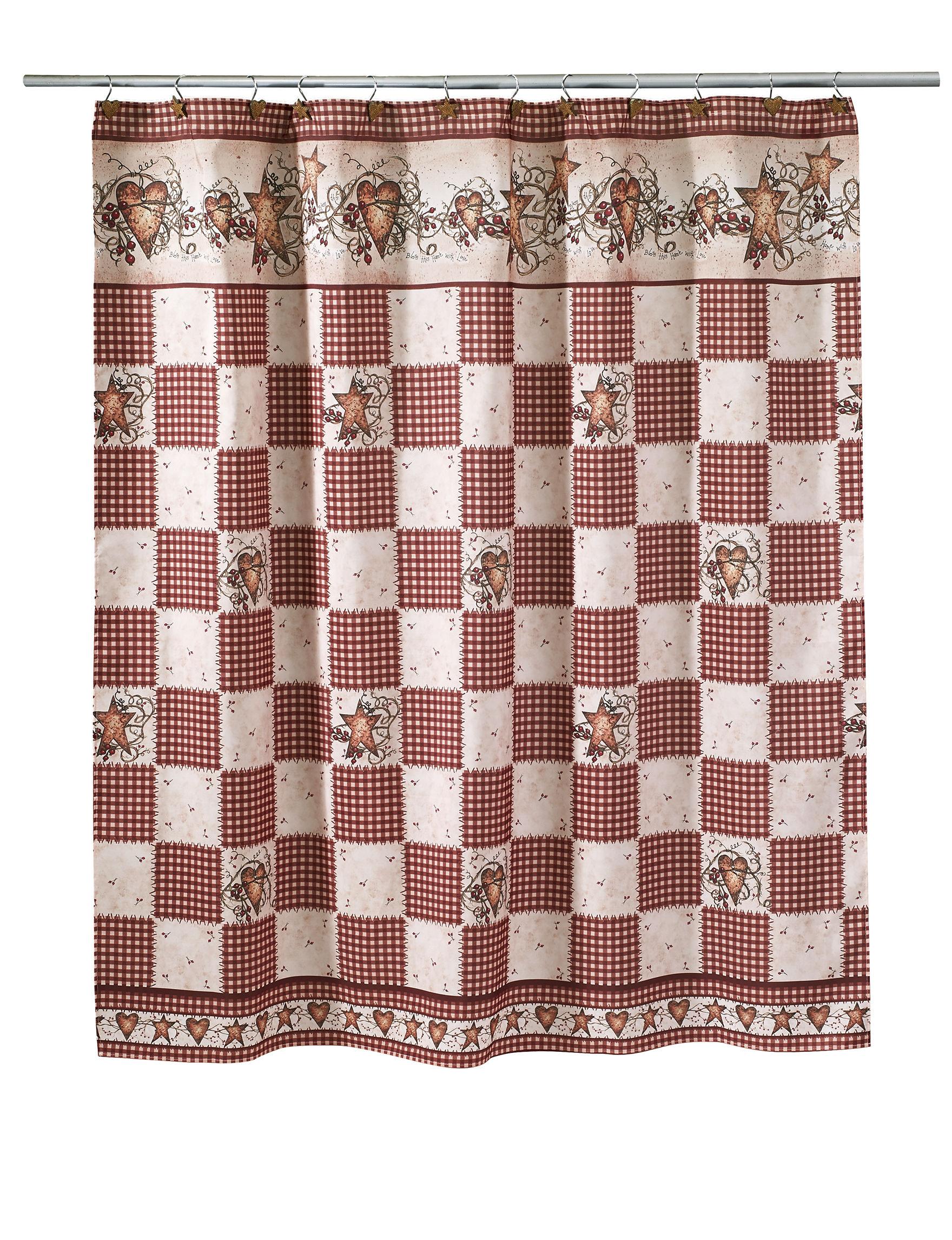 Avanti Burnt Red/ Tan Shower Curtains & Hooks