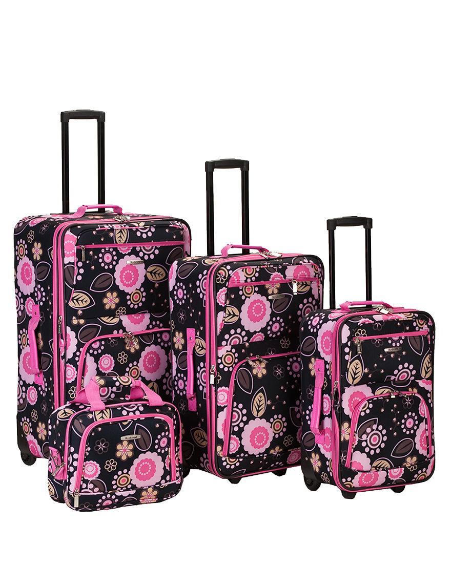 Rockland Black / Pink Luggage Sets