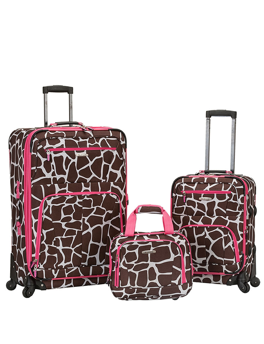 Rockland Brown / Pink Luggage Sets