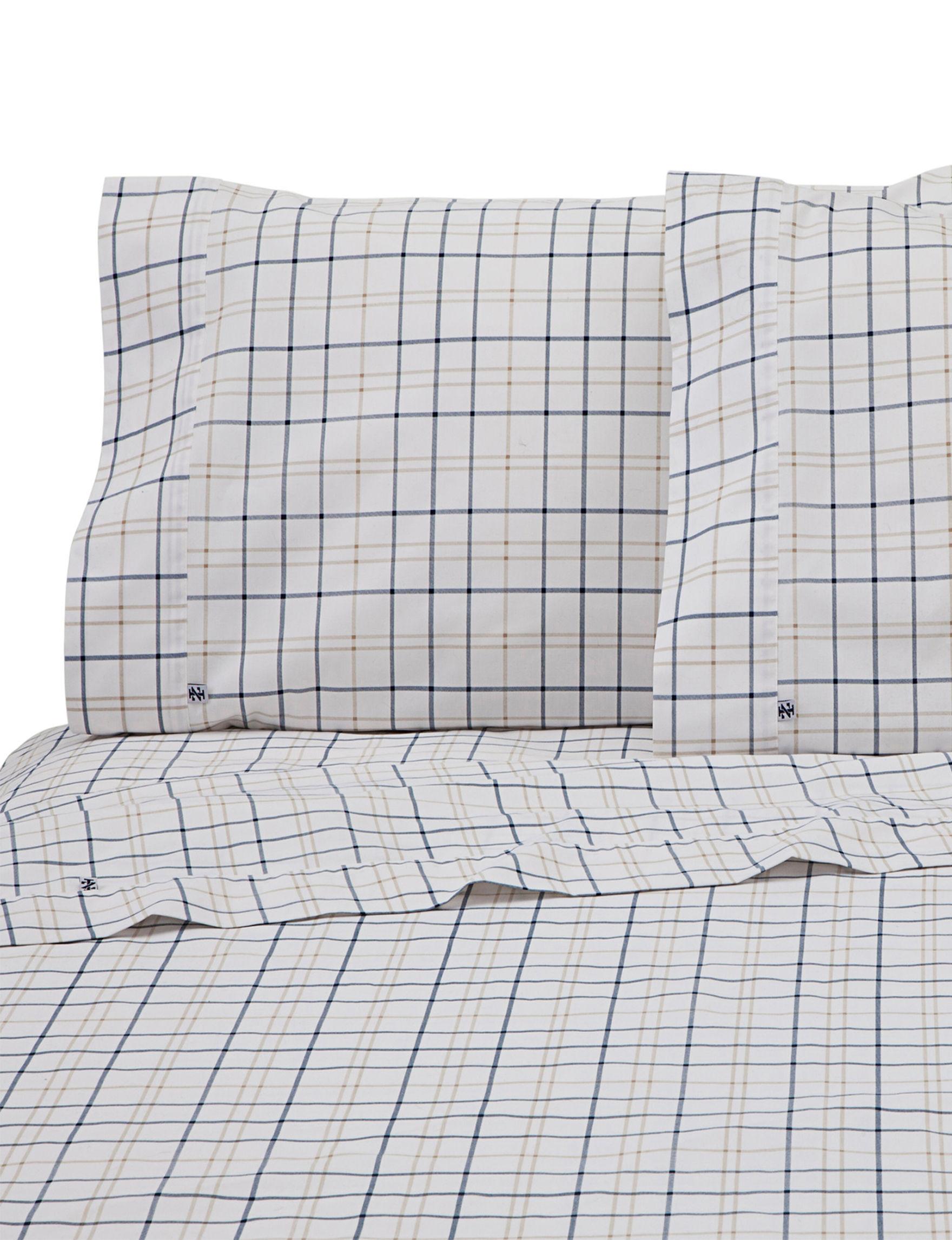 Izod Navy/ Khaki Sheets & Pillowcases
