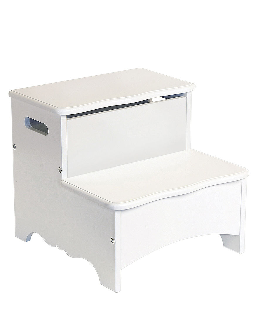 Guidecraft Classic White Storage Step Up Stage Stores