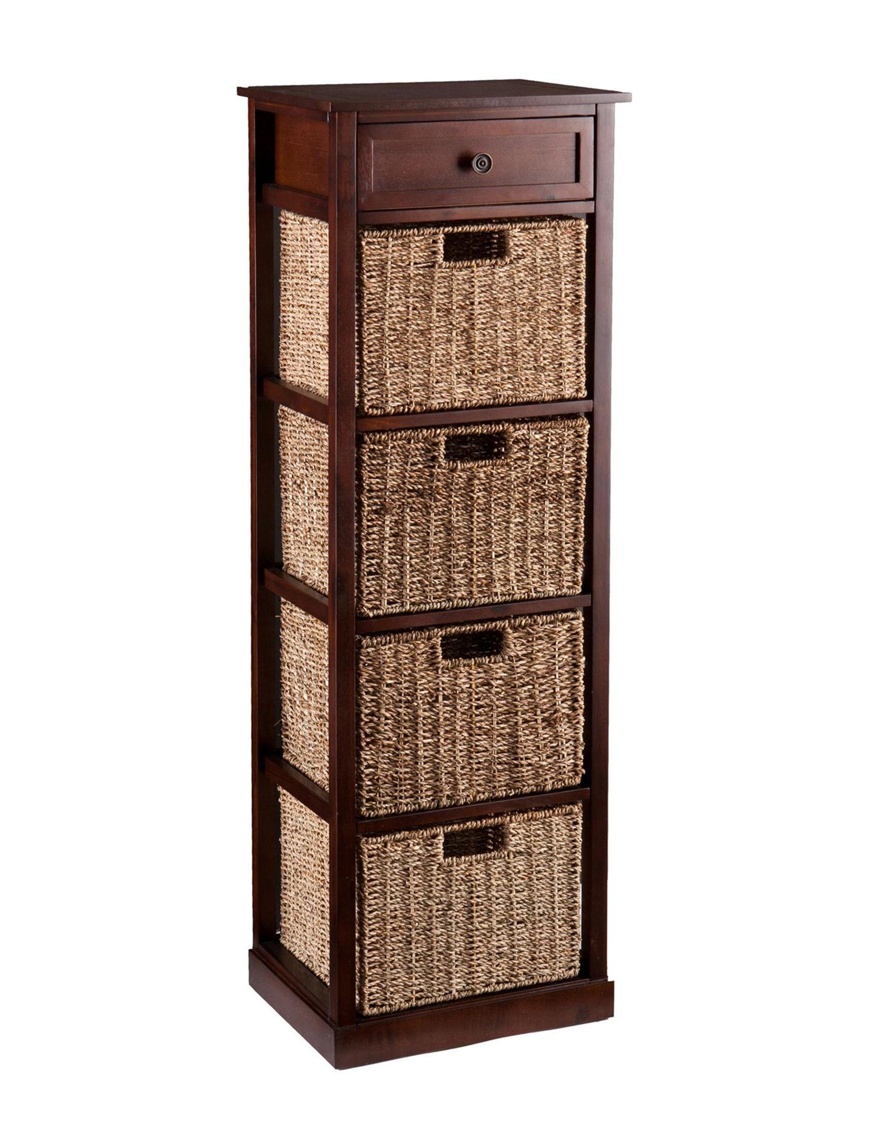 Southern Enterprises Mahogany Baskets Cubbies & Cubes Storage Bags & Boxes Storage Shelves Storage & Organization