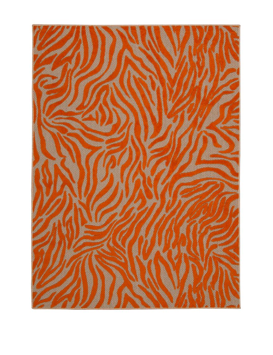 Noursion Aloha Orange Zebra Print Indoor Outdoor Rug