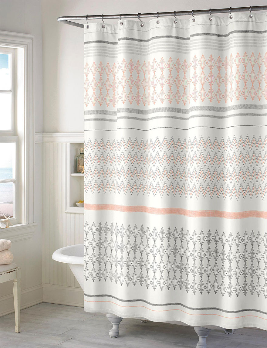 style lounge shower curtain. Style Lounge Salmon Shower Curtains  Hooks Multicolor Chevron Striped Print Curtain