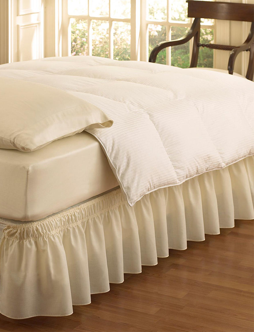 Ellery Easyfit Wrap Around Solid Color Ivory Ruffled Bed