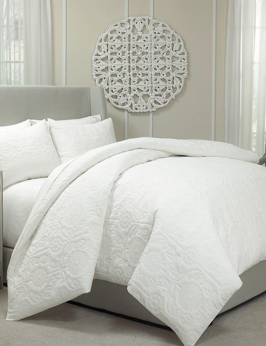 Ellery Vue Barcelona 3 Pc Ivory Quilted Duvet Cover Set