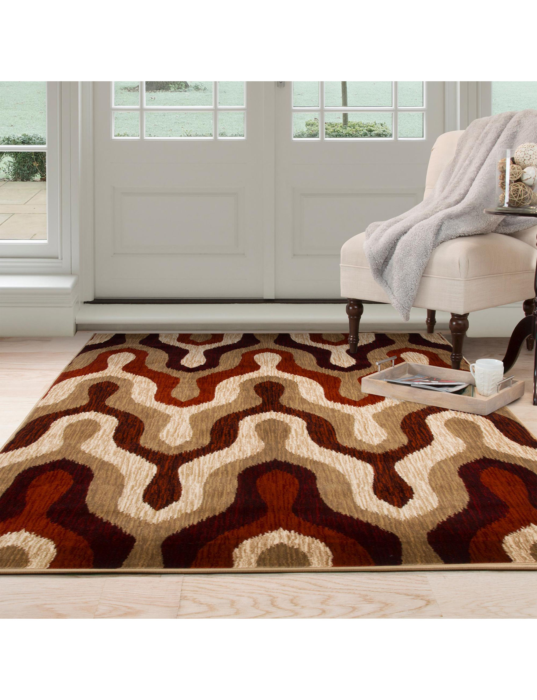 Lavish Home Burgundy/Tan Area Rugs Rugs
