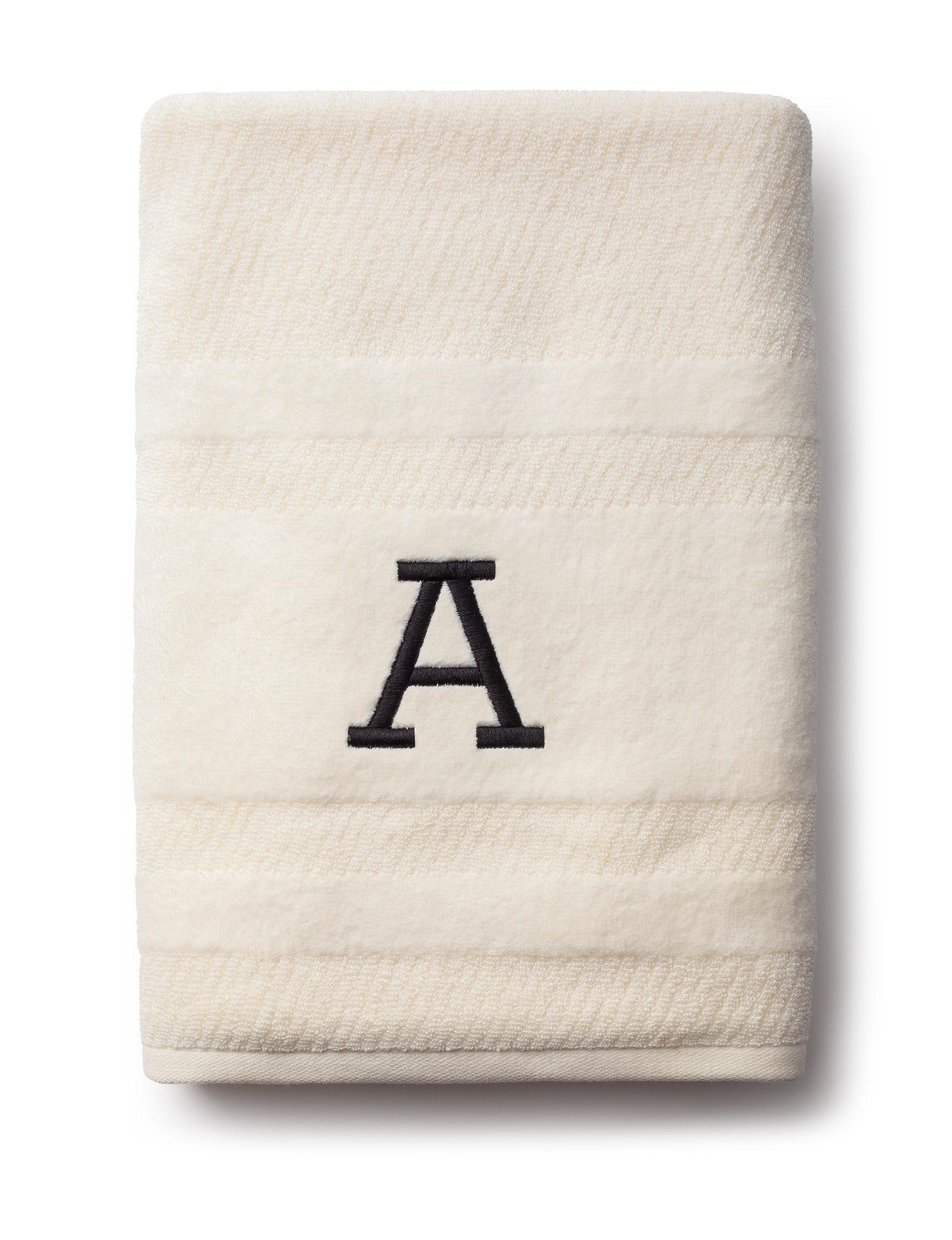 Peri Ivory Bath Towels Monogram Towels