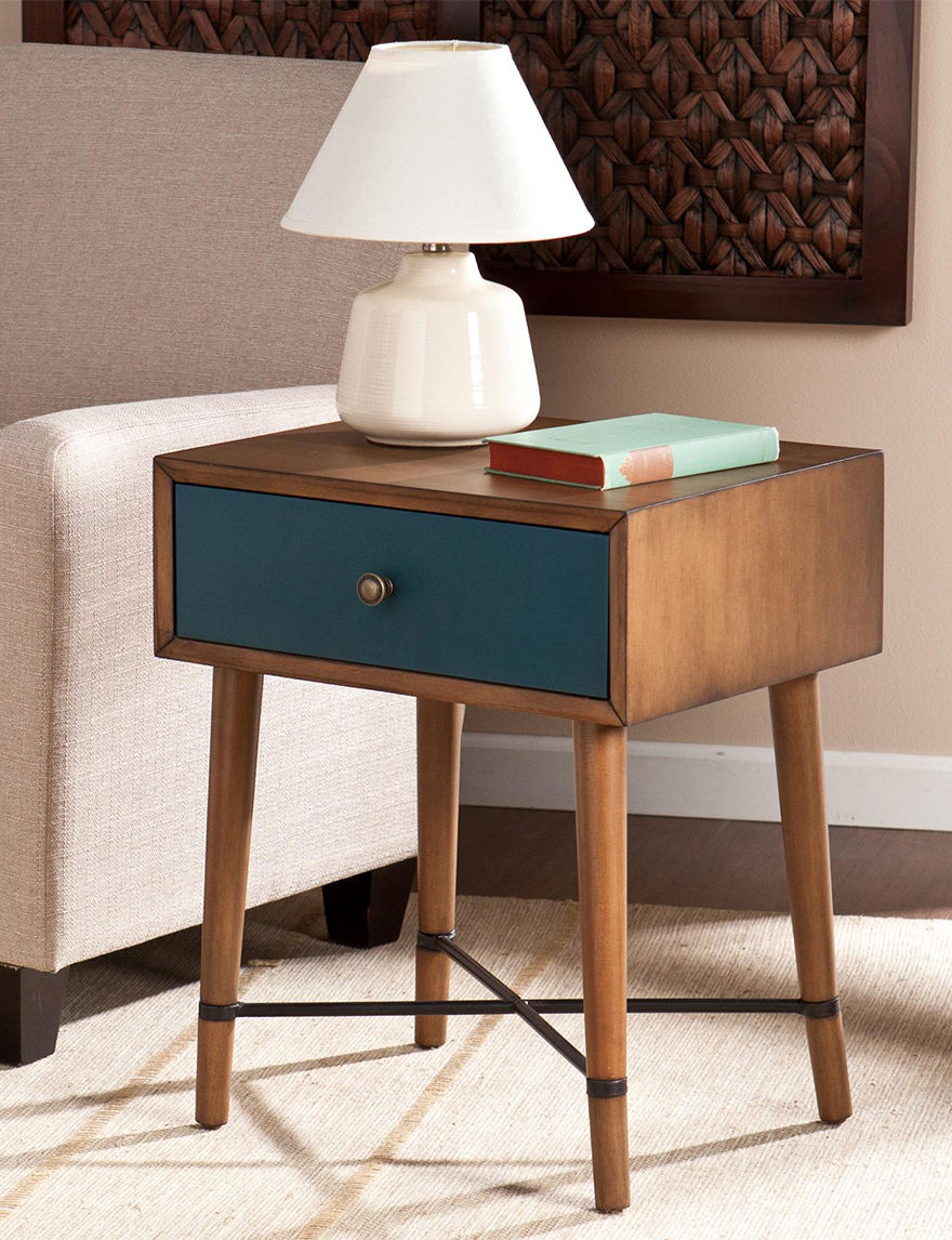 Southern Enterprises Brown / Blue Accent & End Tables Living Room Furniture