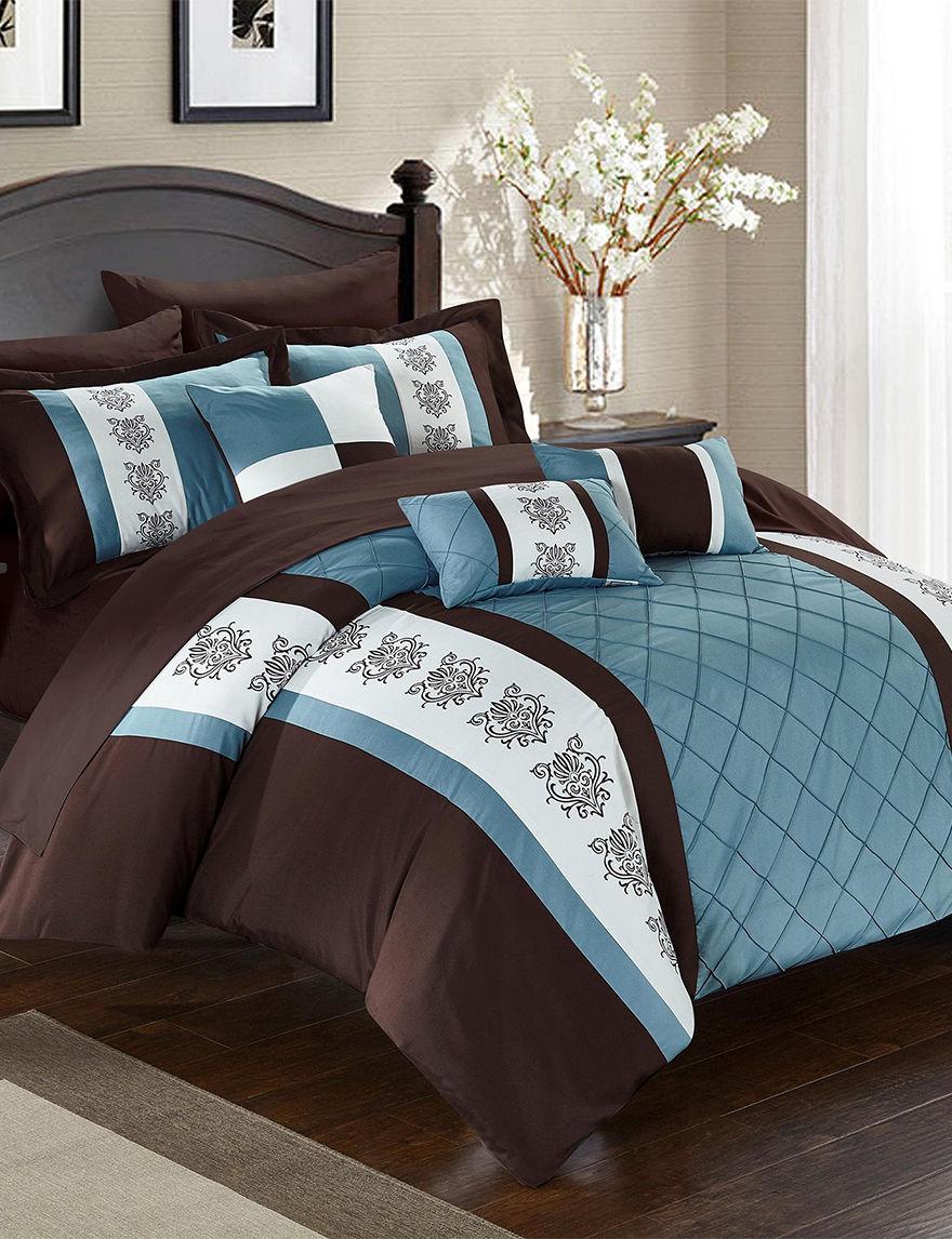 Chic Home Design Dalton Brown Mixed Print Comforter Set