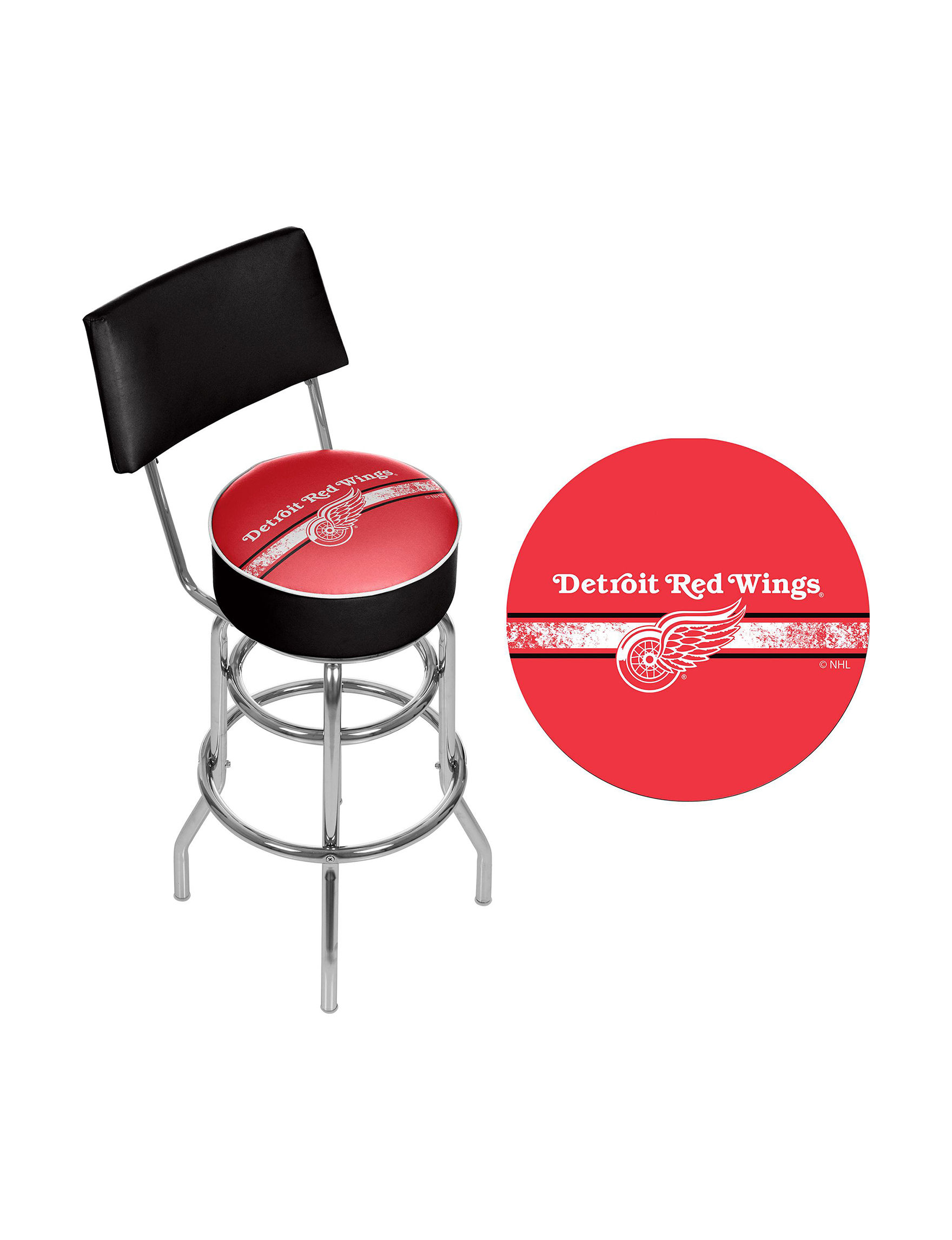 Nhl Detroit Red Wings Swivel Bar Stool With Back Stage