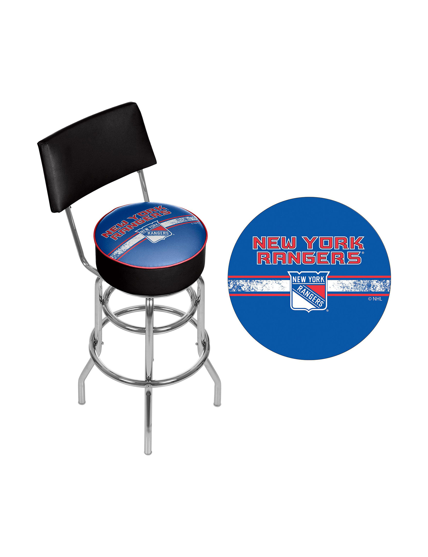 Nhl New York Rangers Swivel Bar Stool With Back Stage Stores