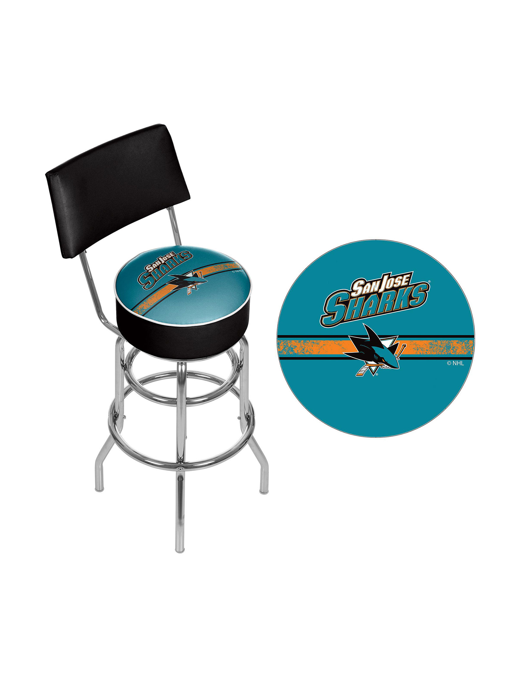Nhl san jose sharks swivel bar stool with back stage stores