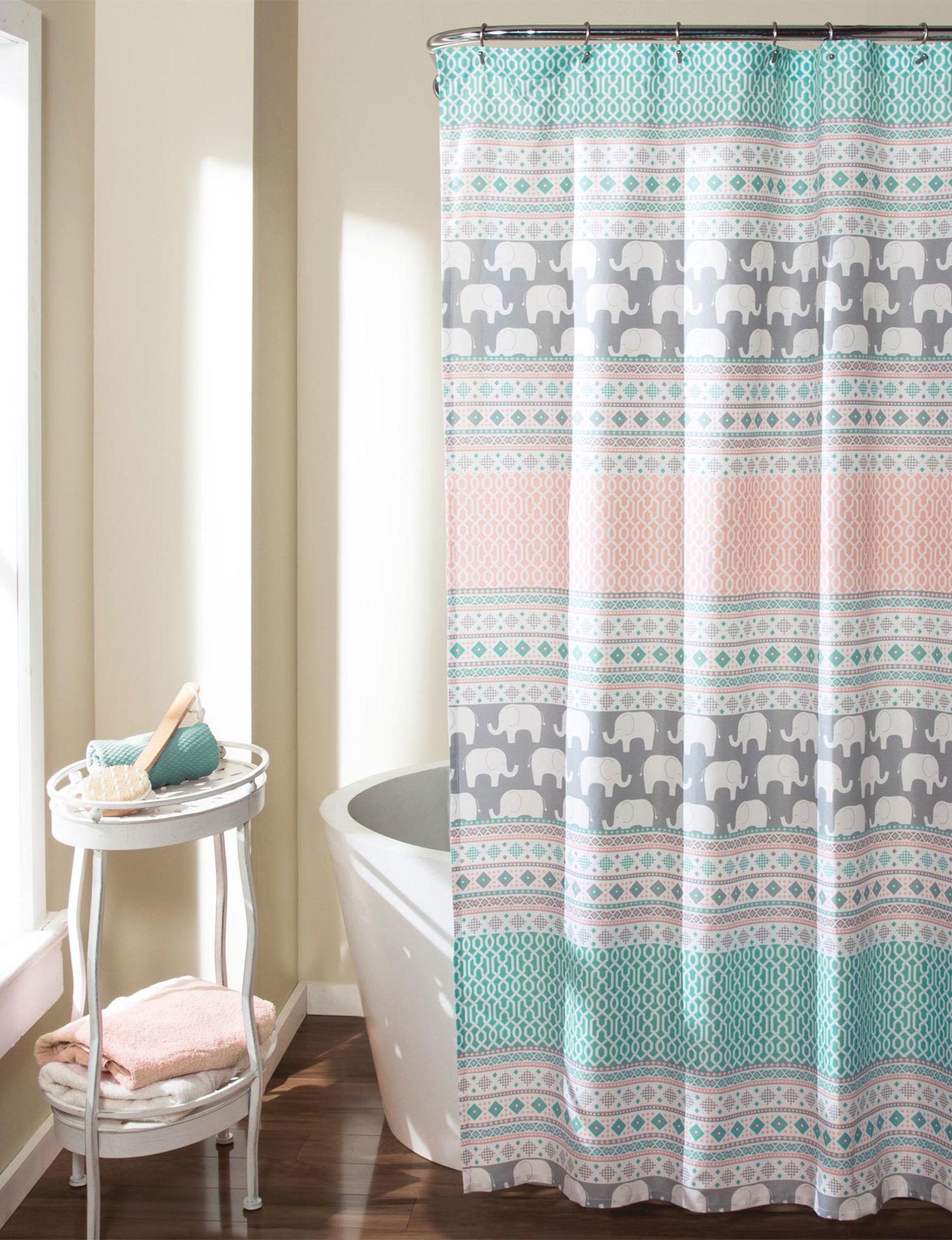 Lush Decor Pink / Blue Shower Curtains & Hooks