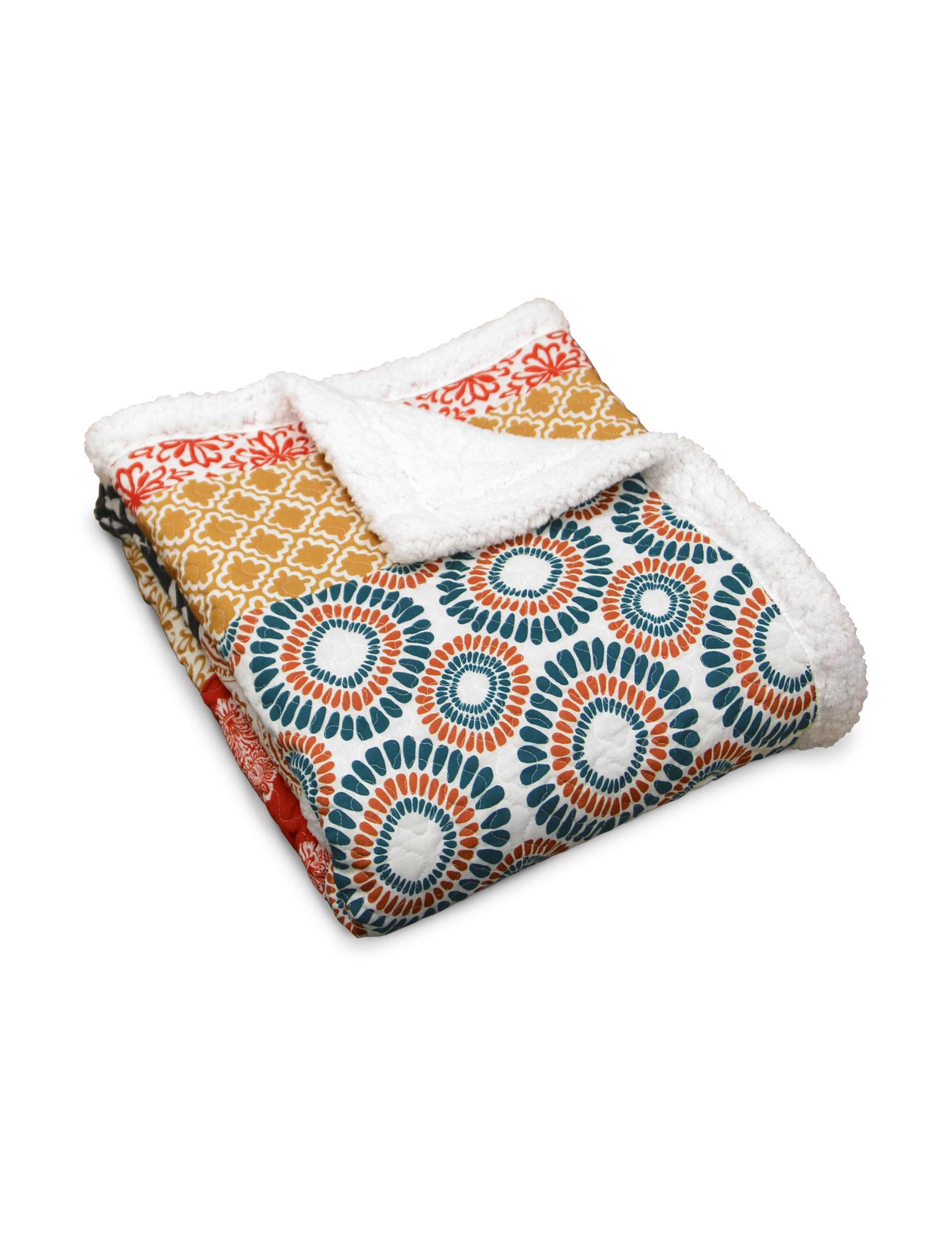 Lush Decor Turquoise/ Orange Blankets & Throws