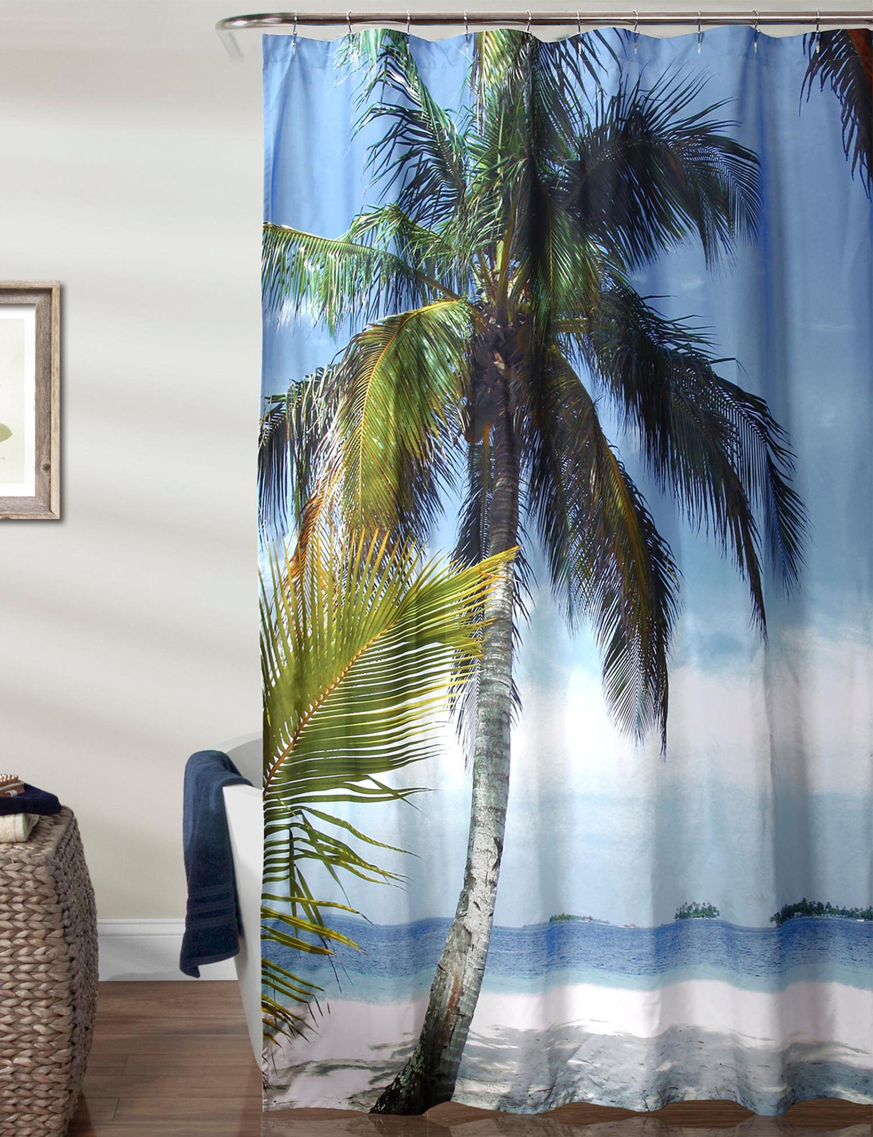 Lush Decor Blue / Green Shower Curtains & Hooks