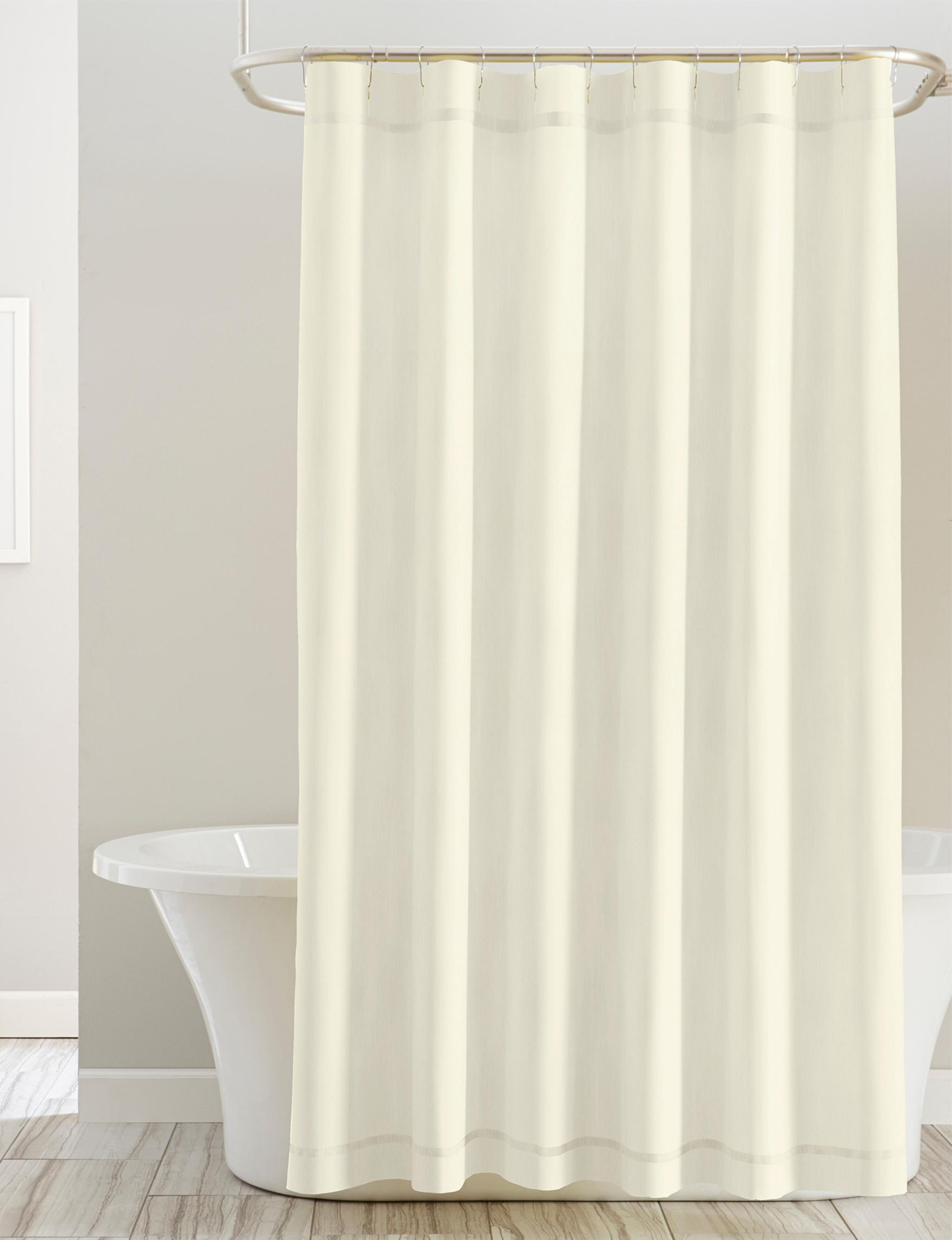 Pointehaven White Shower Curtains & Hooks