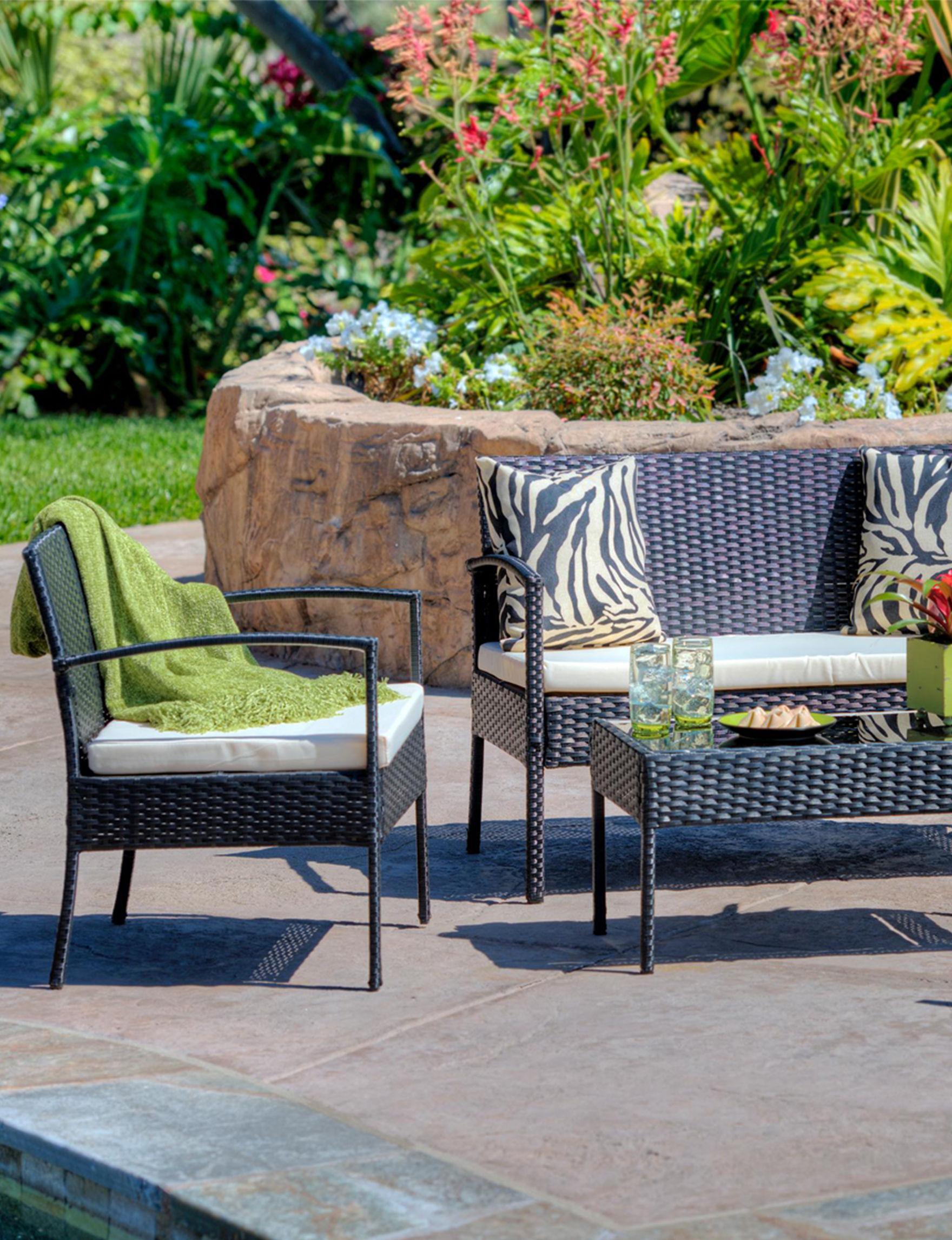 6 Pc Patio Set With Umbrella: Thy-Hom 4-pc. Tea Set All-Weather Wicker Patio Seating Set