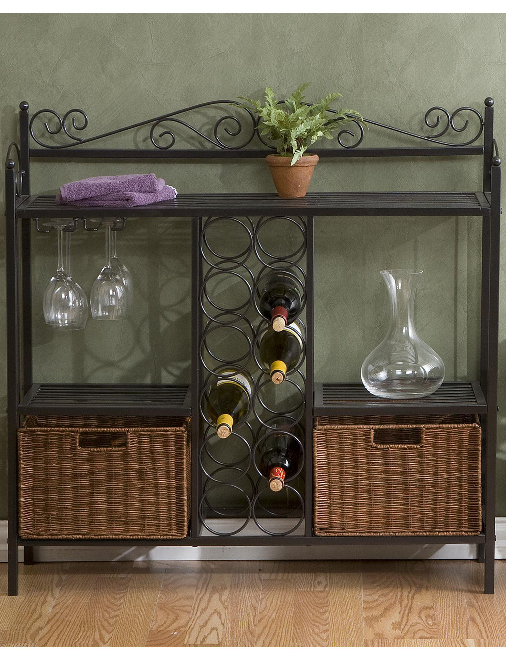 Southern Enterprises Grey Bar & Wine Storage Kitchen Islands & Carts Storage Shelves Wine Racks Home Accents Kitchen & Dining Furniture