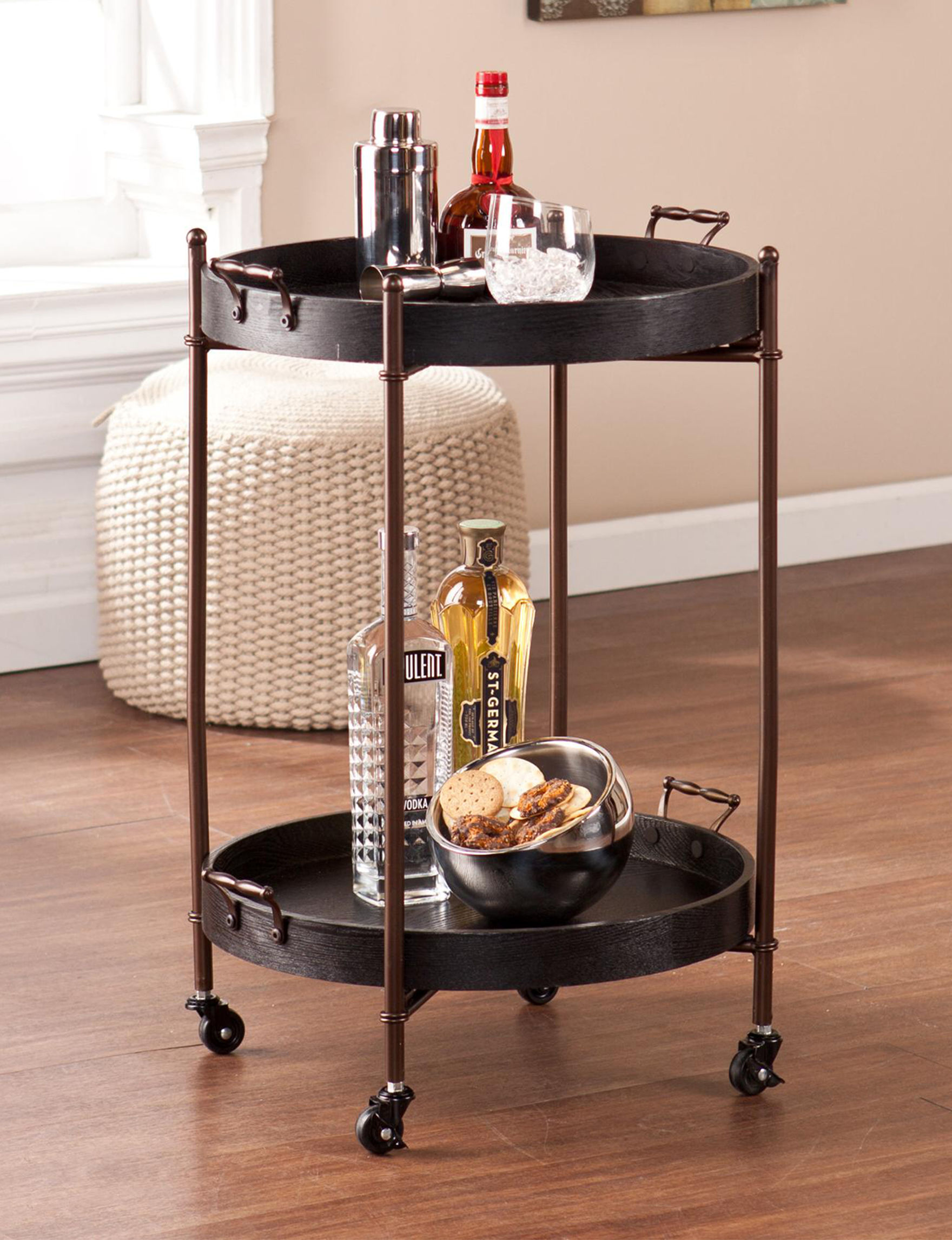 Southern Enterprises Black Bar & Wine Storage Home Accents