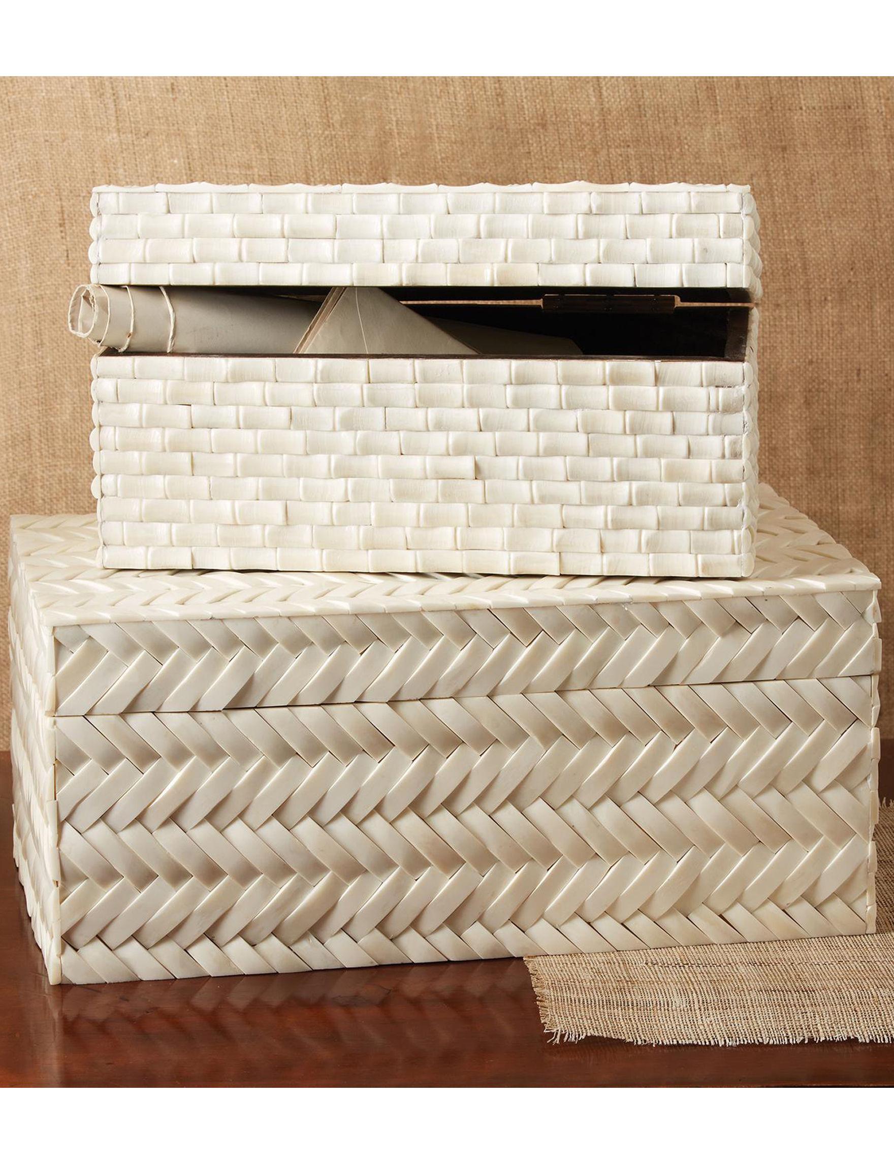 Two's Company White Storage Bags & Boxes Storage & Organization