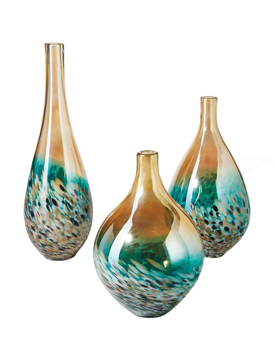 Two's Company Turquoise / Brown Vases & Decorative Bowls Home Accents
