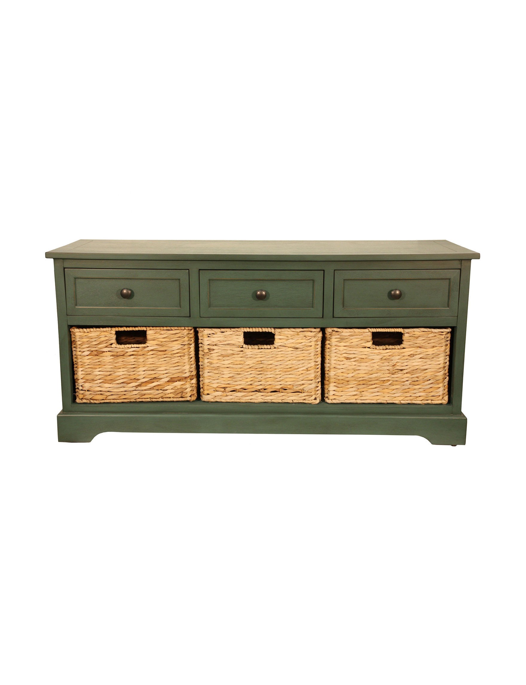 Decor Therapy Green Ottomans & Benches Bedroom Furniture Entryway Furniture Home Office Furniture Living Room Furniture