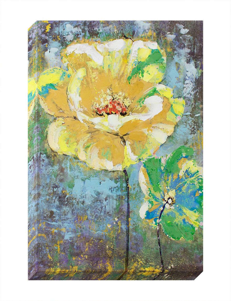 Decor therapy yellow flower oil painted canvas art stage for Decor therapy