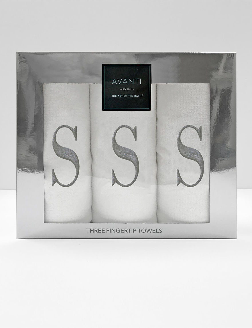 Avanti Silver Fingertip Towels Monogram Towels