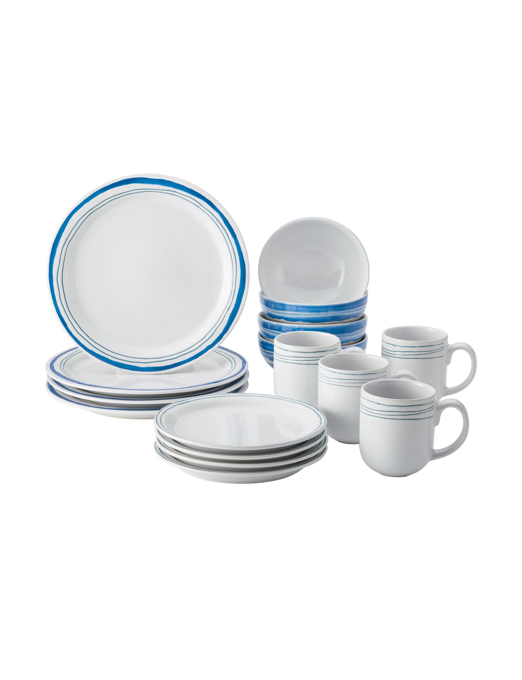 Rachael Ray Aqua / White Dinnerware Sets Dinnerware