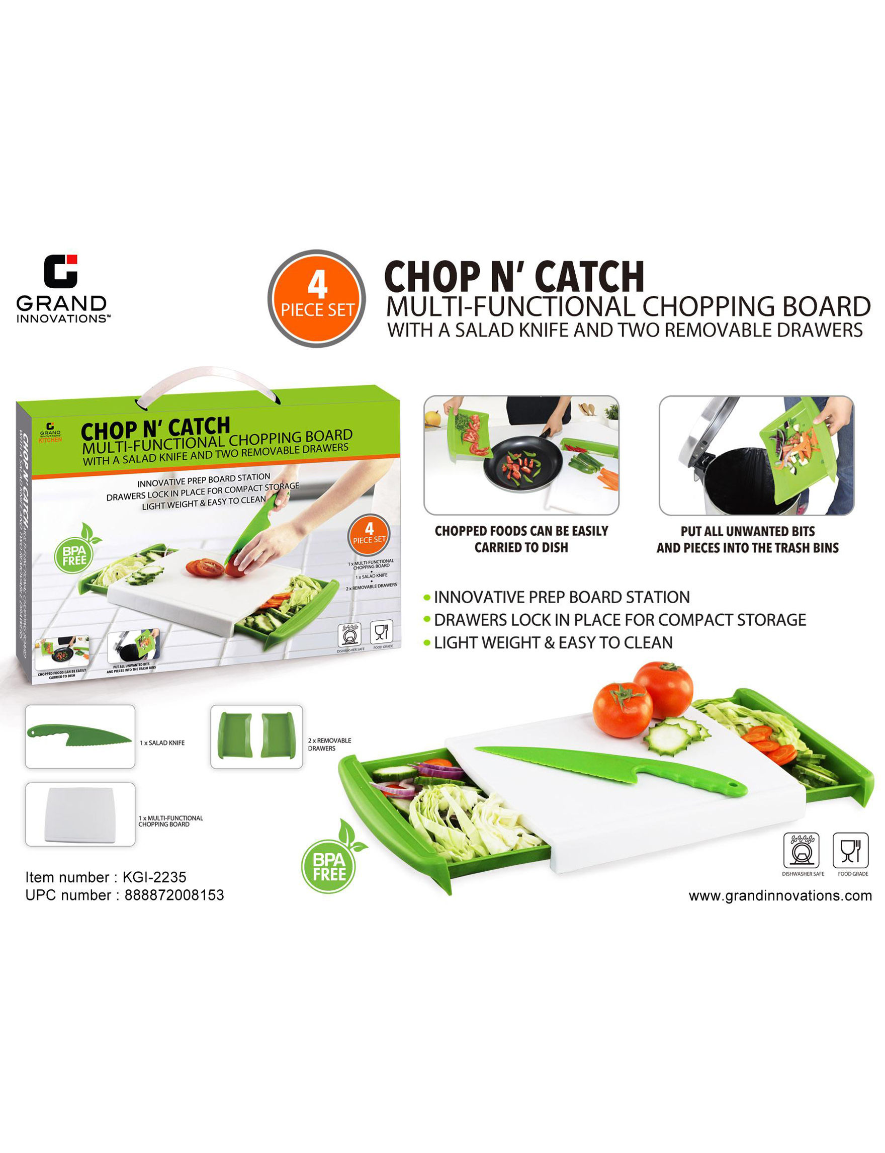 Grand Innovation Green Cutting Boards Knives & Cutlery Prep & Tools
