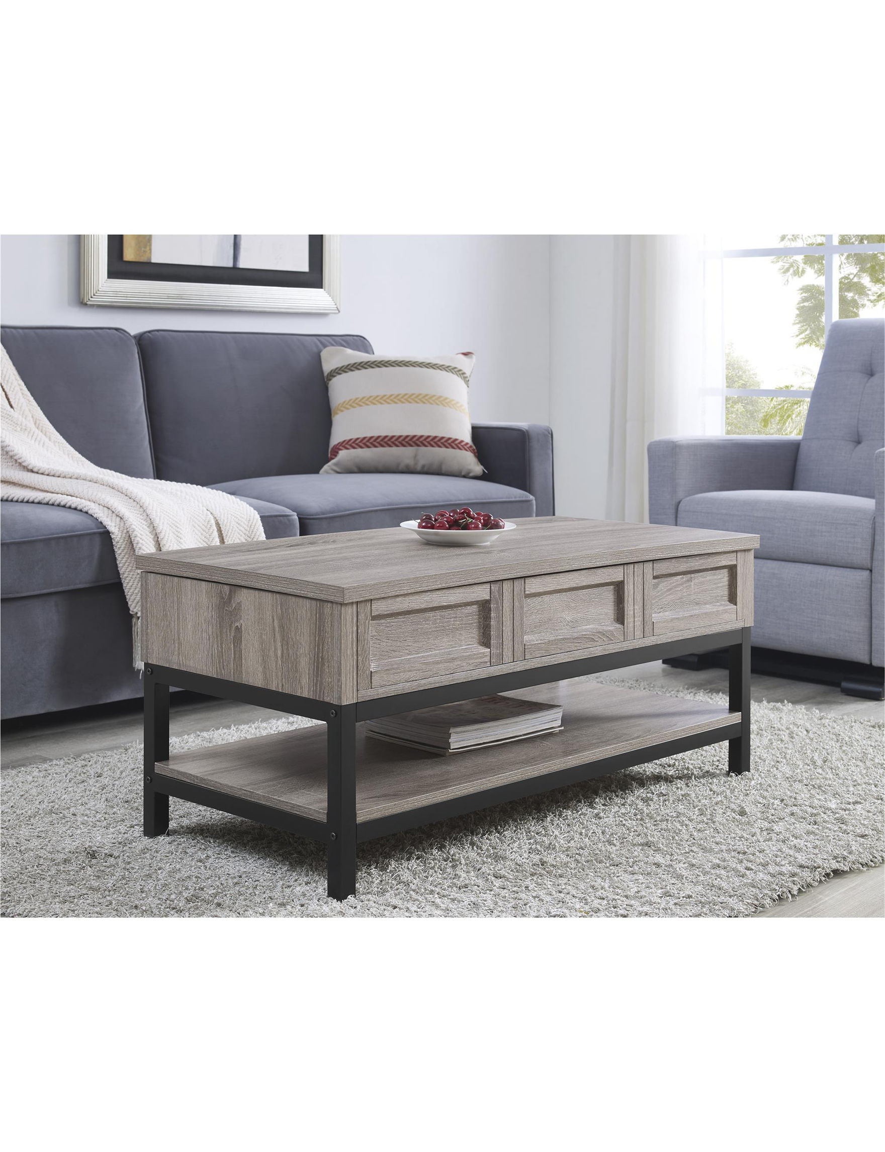 Ameriwood Oak Grey Coffee Tables Living Room Furniture