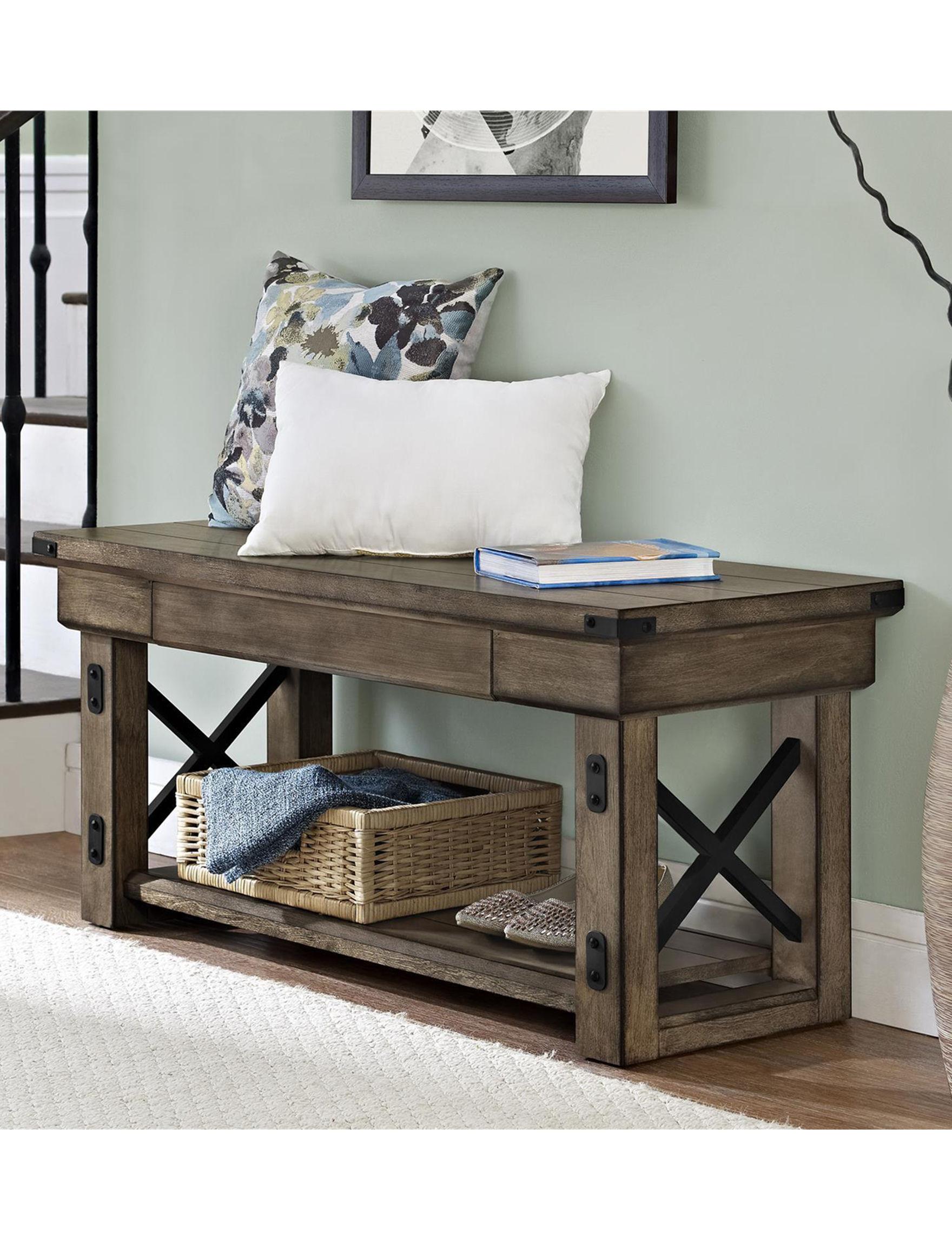 Ameriwood Oak Grey Ottomans & Benches Entryway Furniture