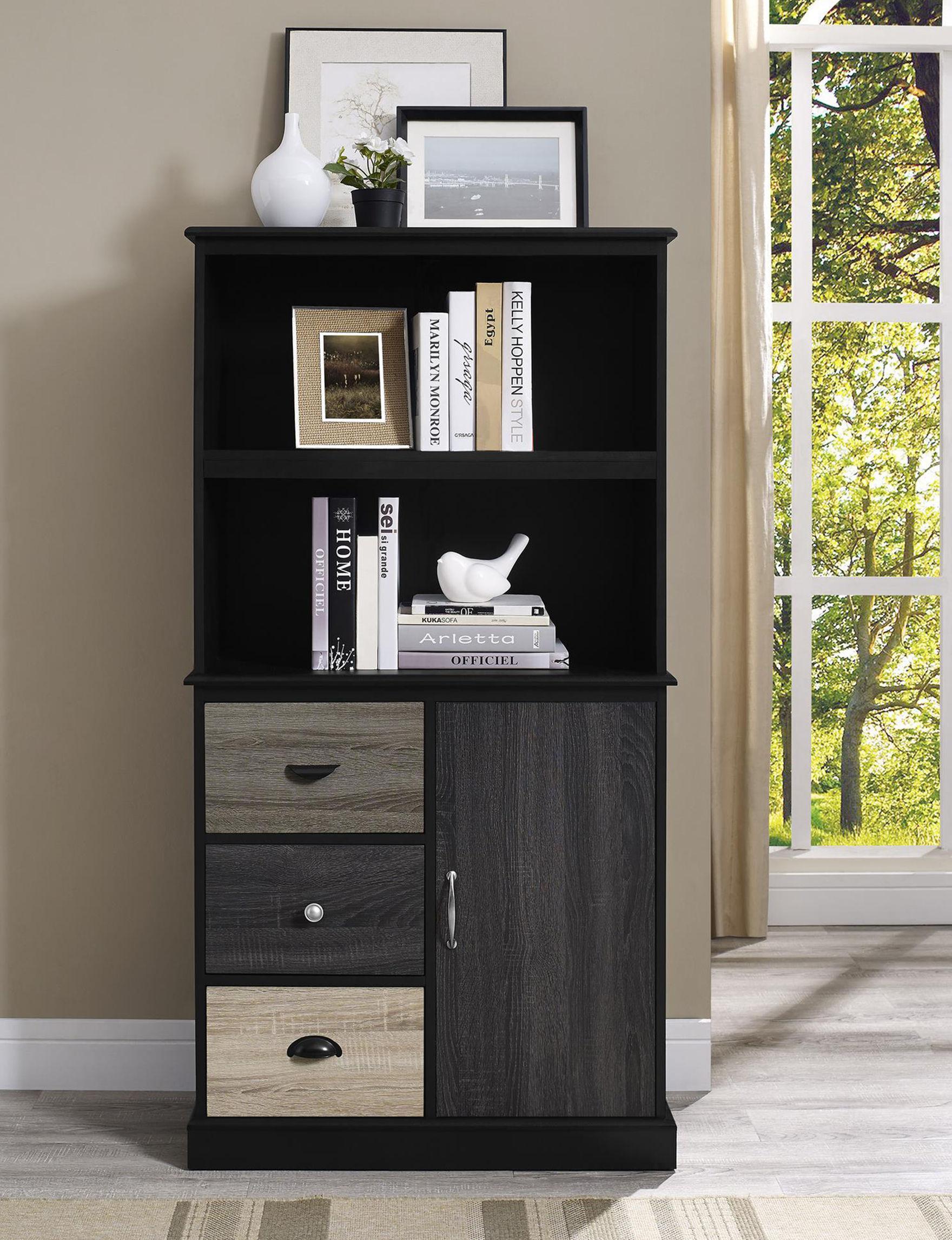 Ameriwood Black / Grey Bookcases & Shelves Home Office Furniture Living Room Furniture