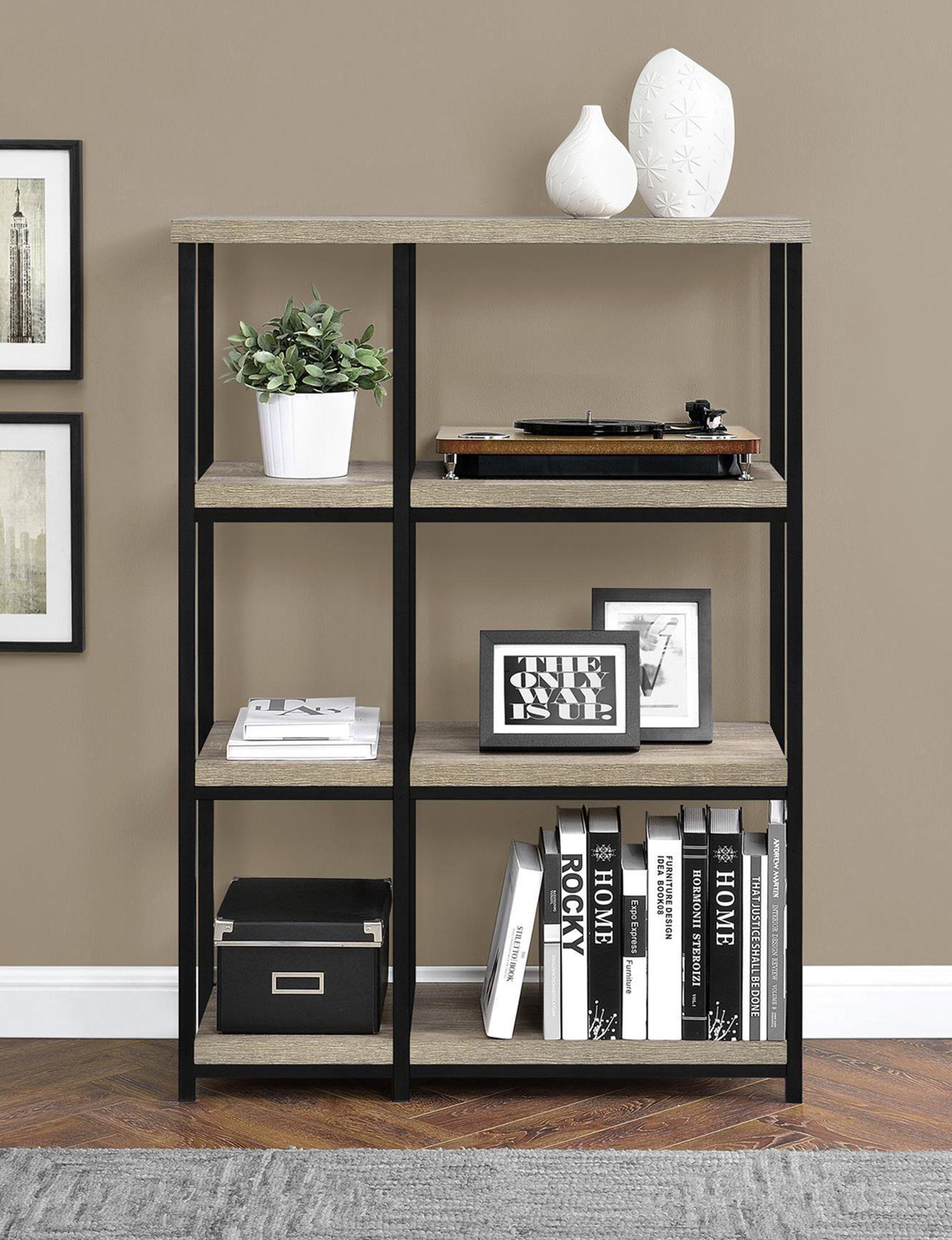 Ameriwood Oak Grey Bookcases & Shelves Home Office Furniture Living Room Furniture