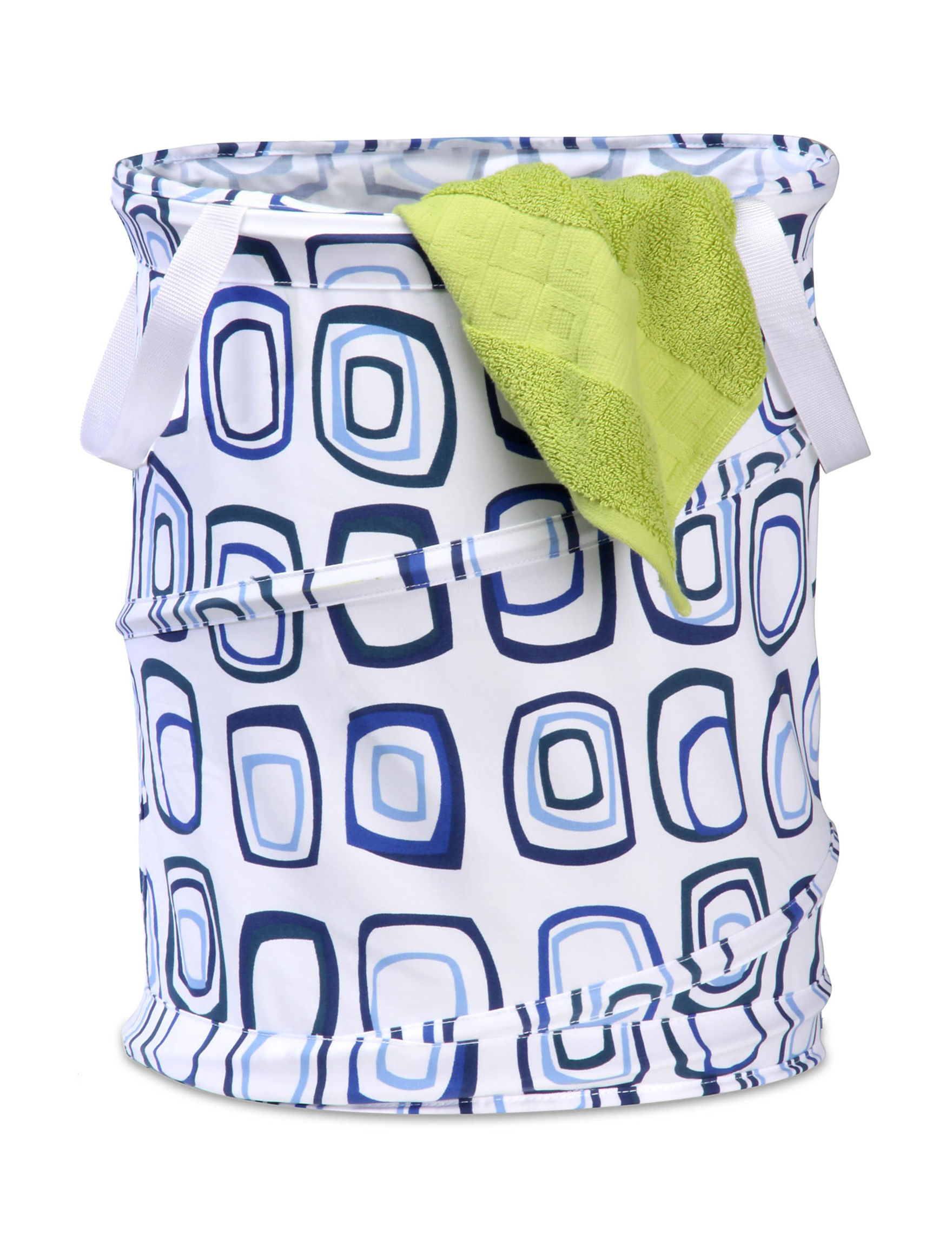 Honey-Can-Do International Blue / White Laundry Hampers Irons & Clothing Care