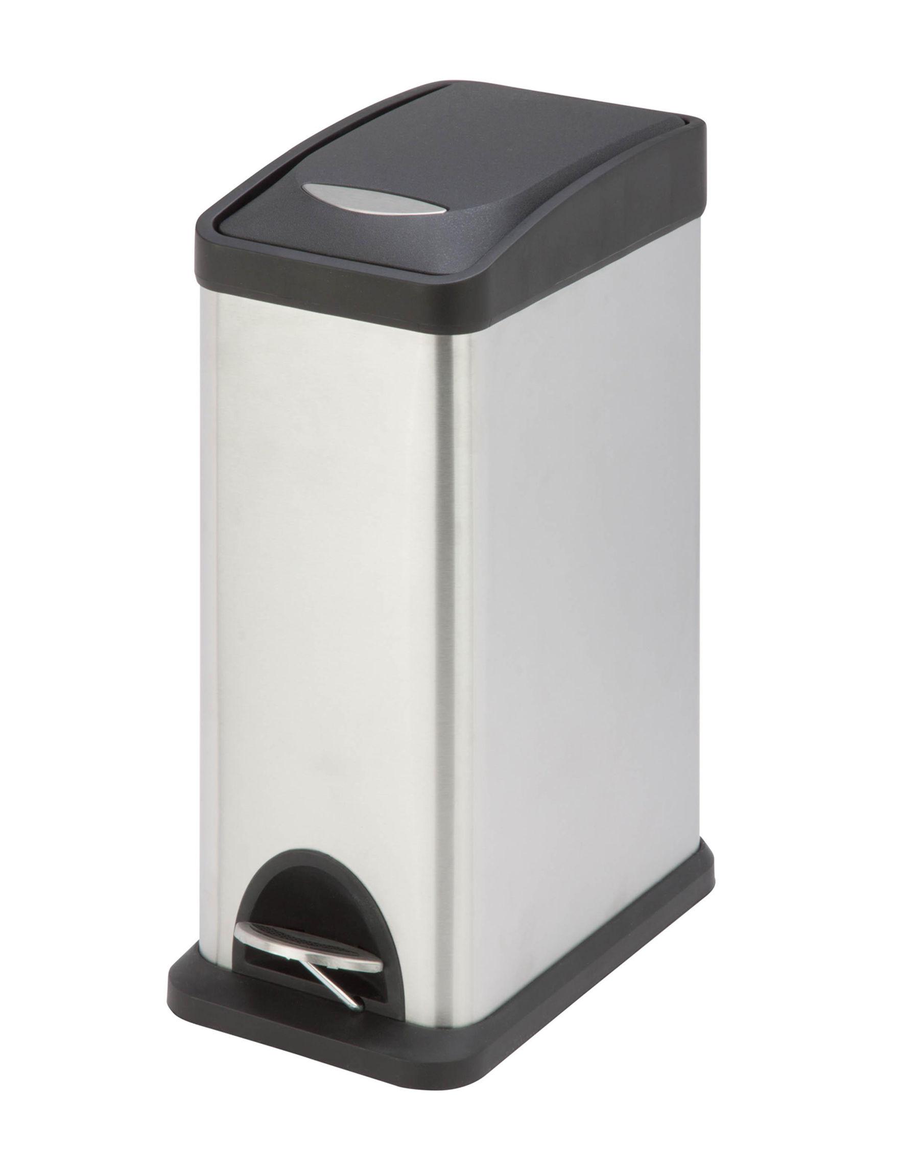 Honey-Can-Do International Grey Trash & Recycling Bins Storage & Organization