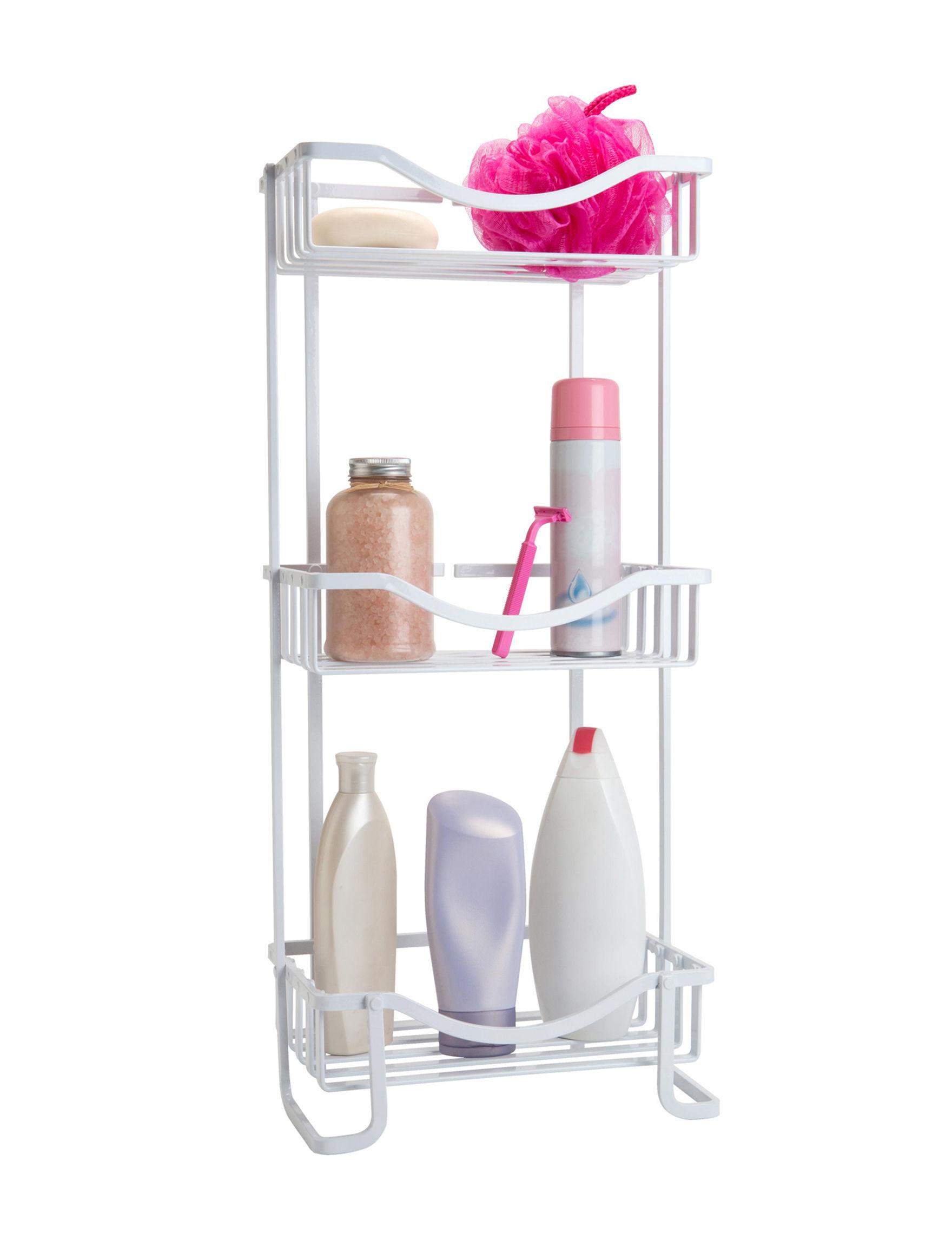 Bath Bliss White Storage Shelves Bath Accessories Storage & Organization