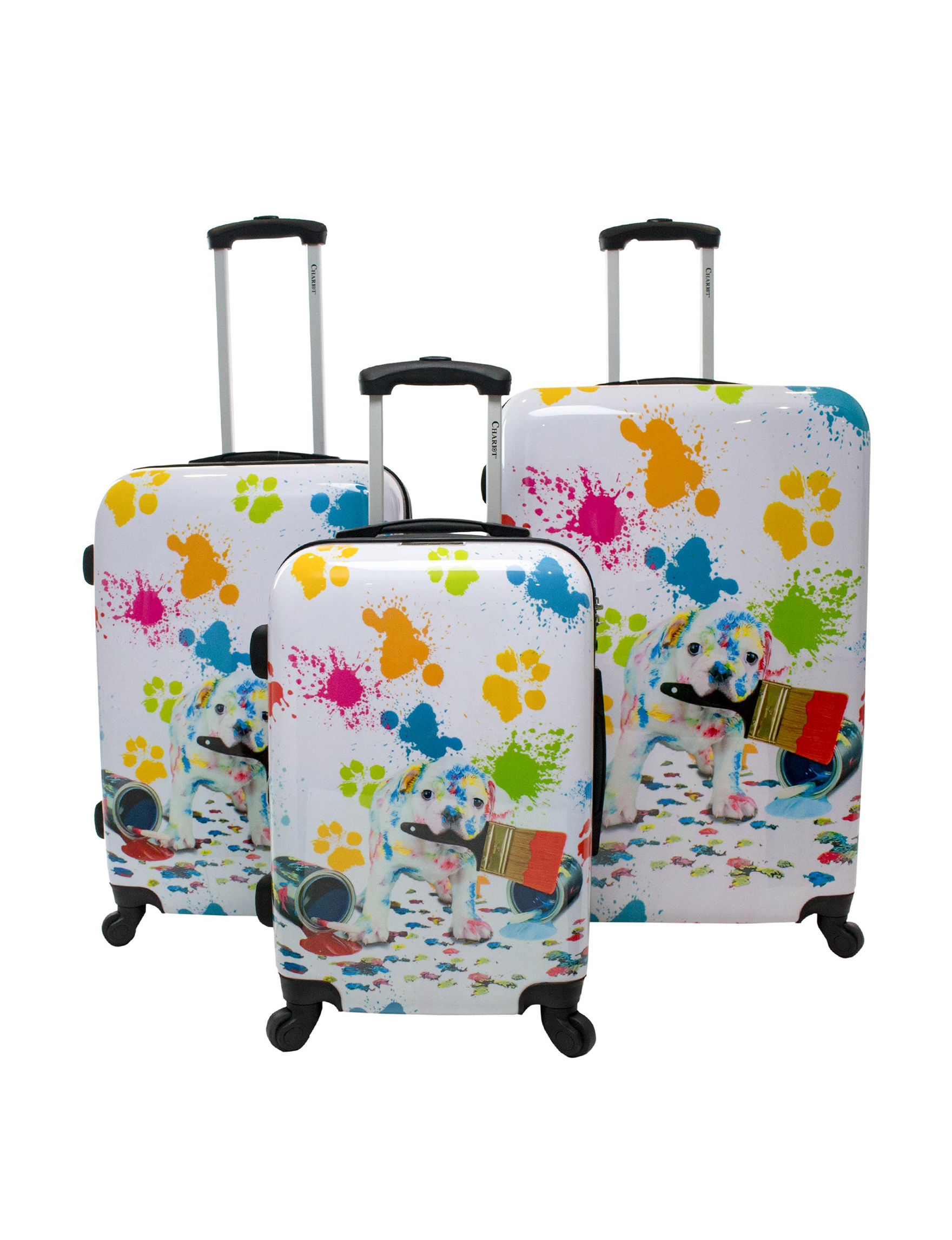 Chariot Travelware White / Multi Upright Spinners