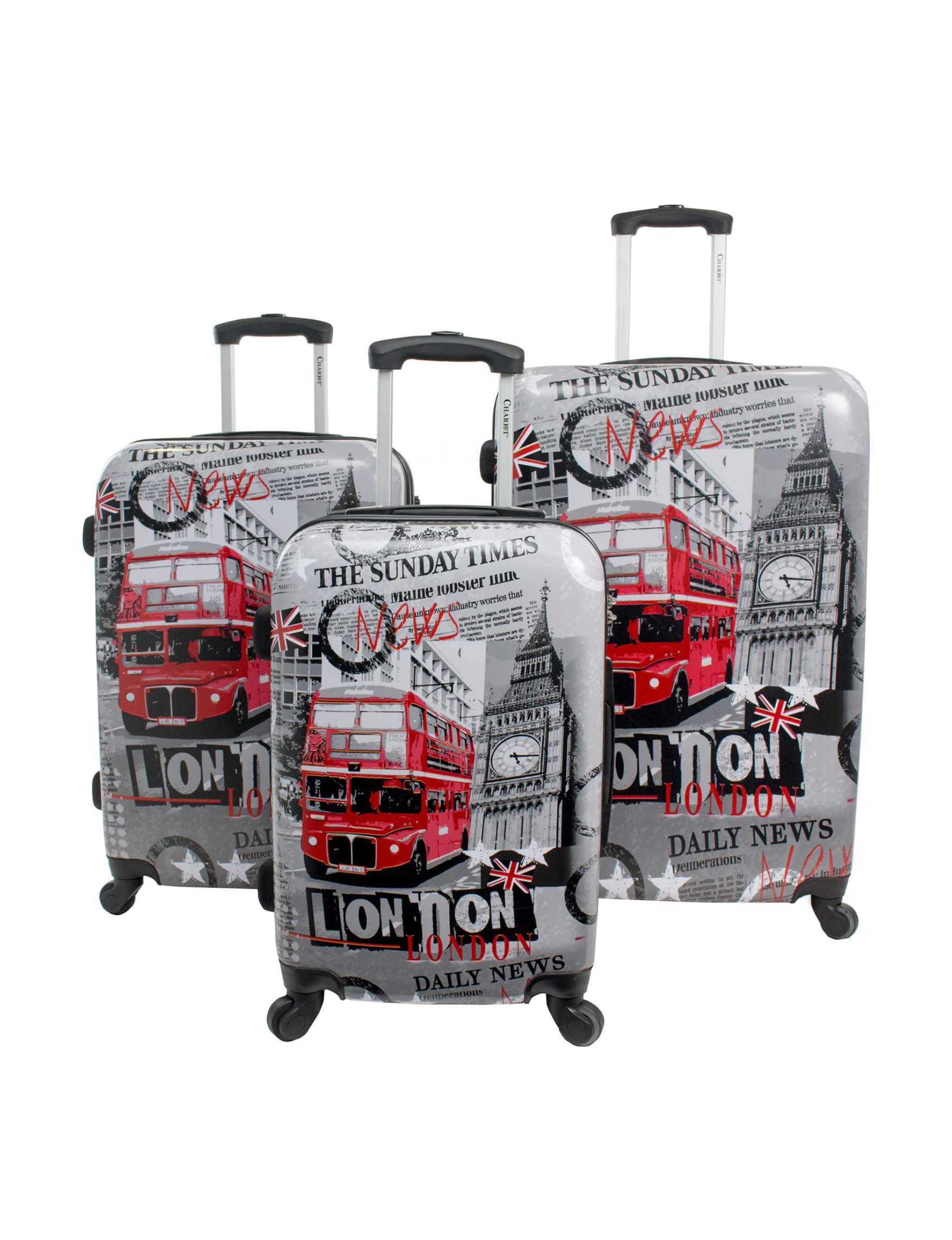Chariot Travelware White / Red Luggage Sets