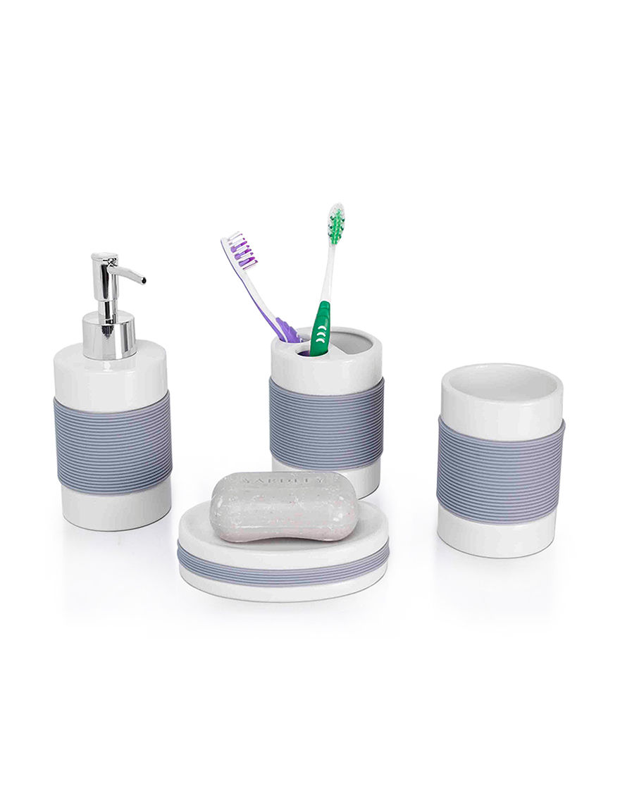 Home Basics White Bath Accessory Sets Bath Accessories