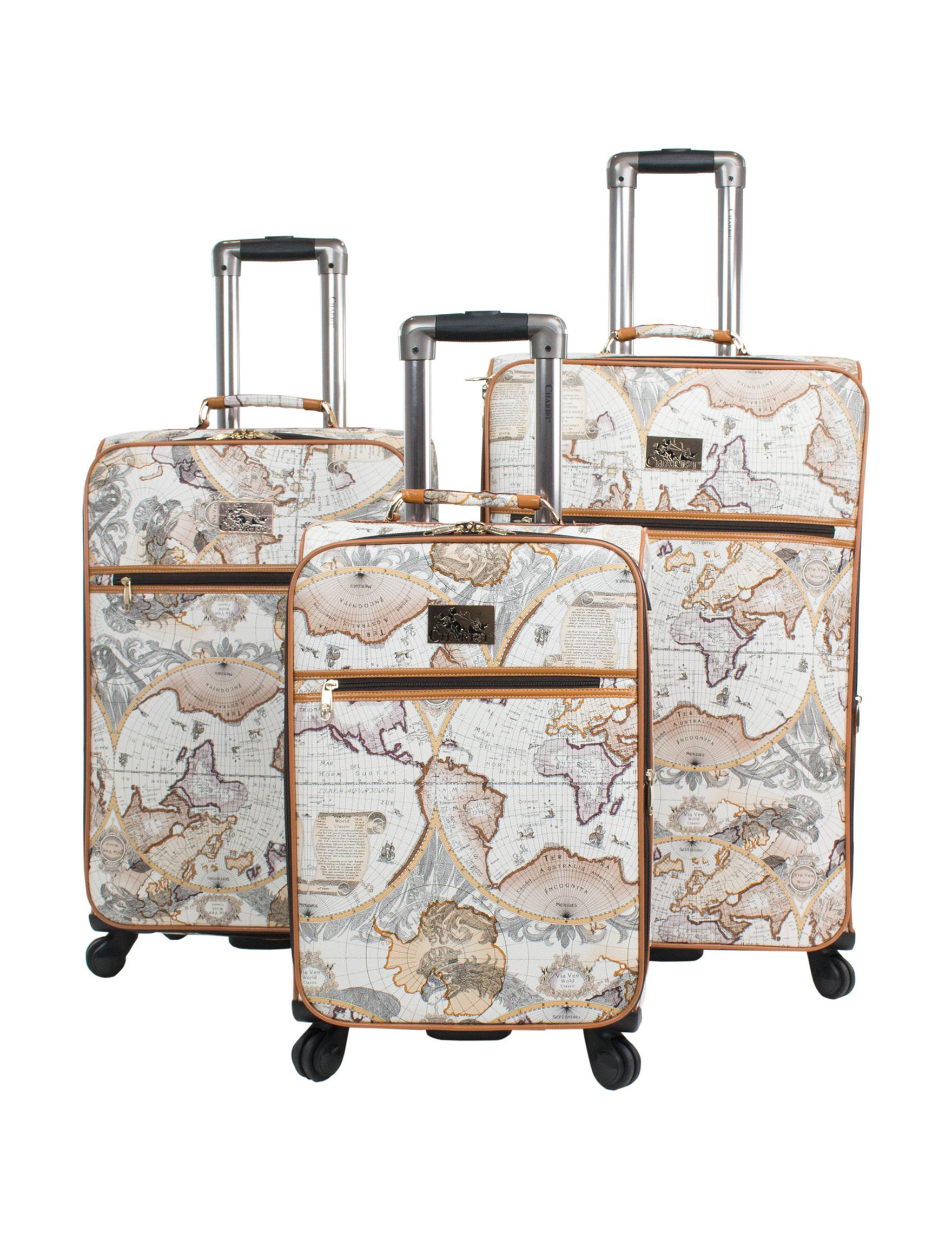 Chariot Travelware Brown / White Upright Spinners