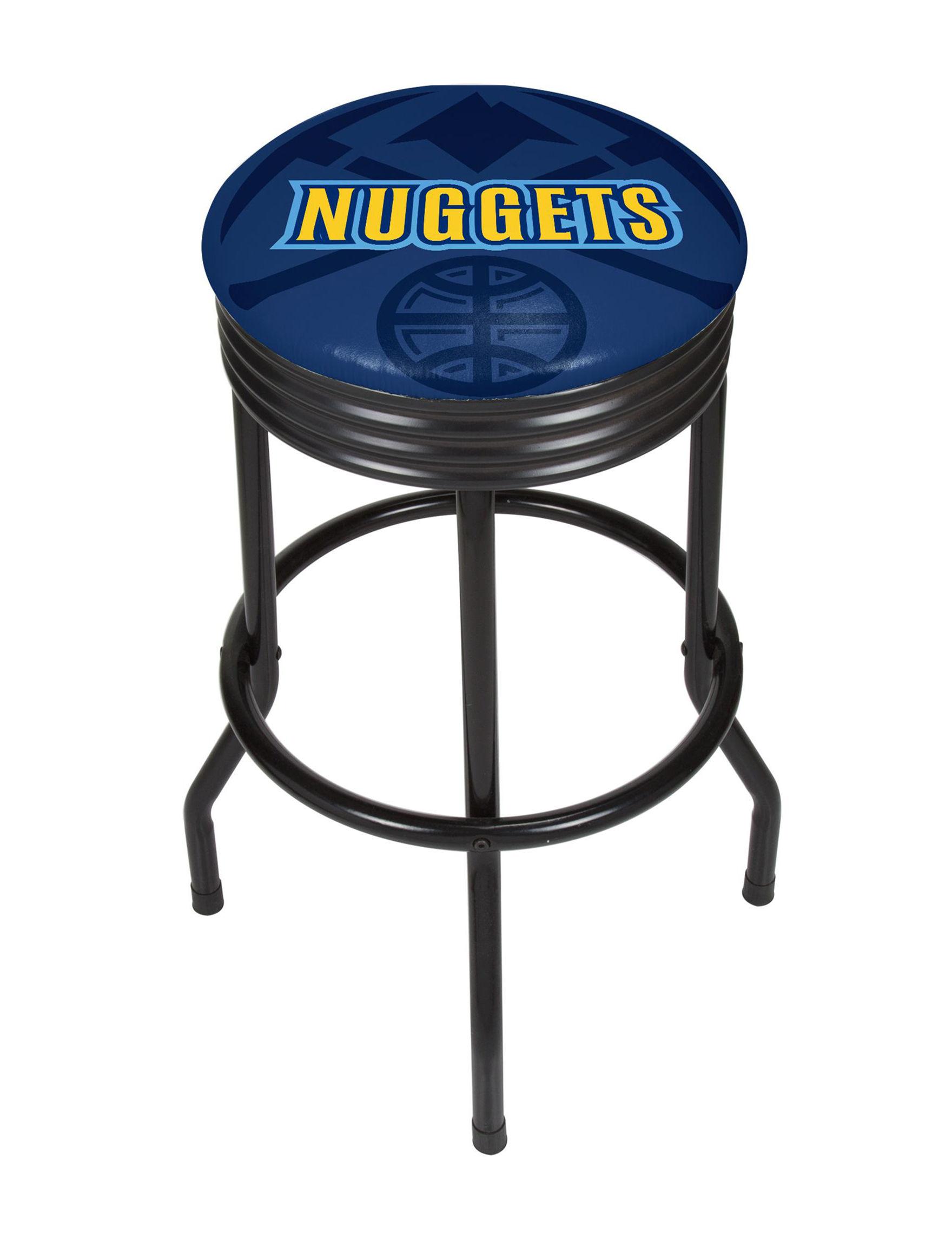Denver Nuggets Black Ribbed Bar Stool Stage Stores